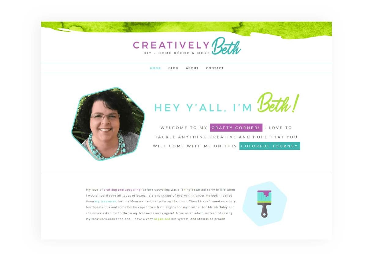 Creatively Beth - Rebranding & Website Redesign - After - MintSwift