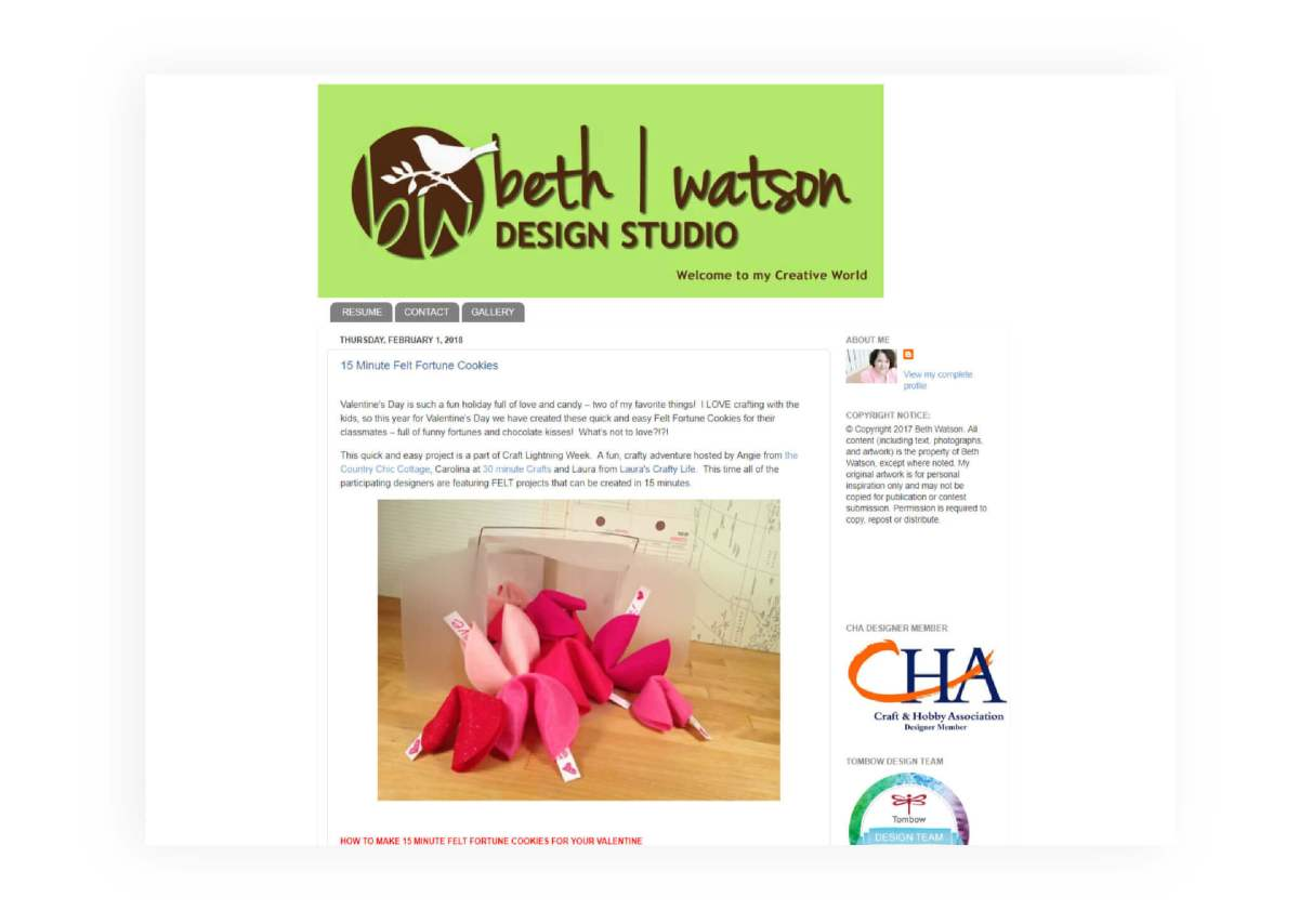 Creatively Beth - Rebranding & Website Redesign - Before - MintSwift