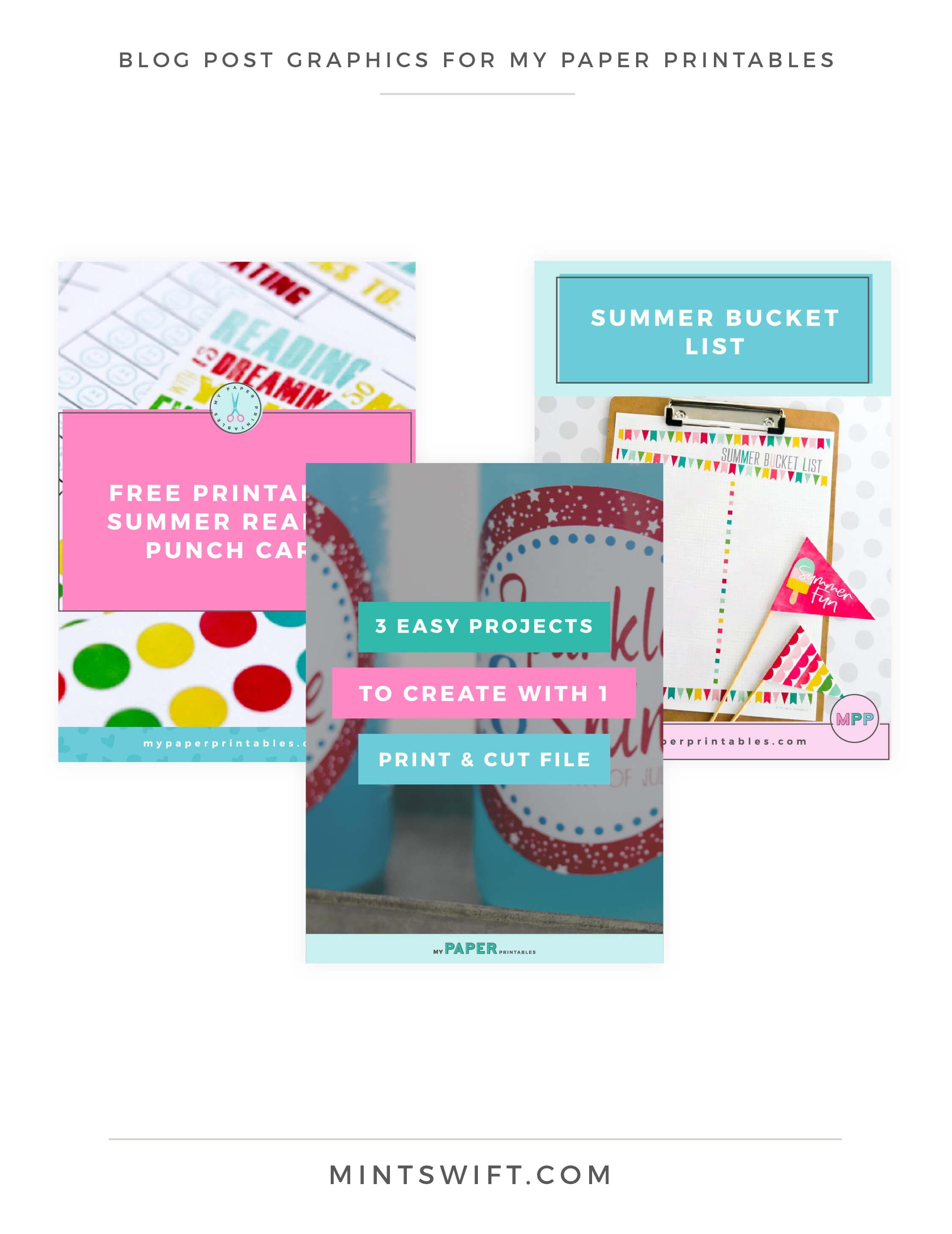 My Paper Printables - Blog Post Graphics - Brand Design - MintSwift