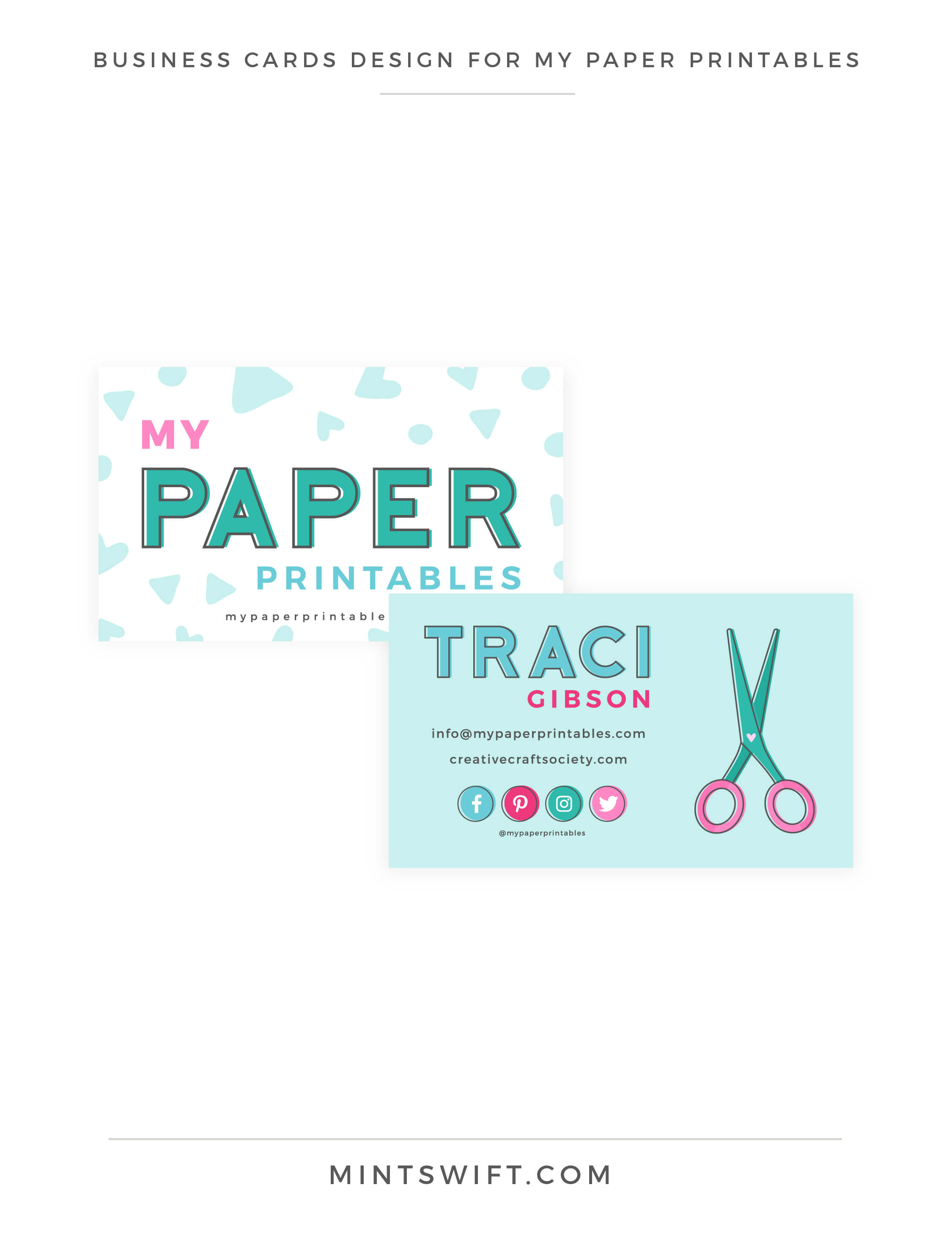 My Paper Printables - Business Cards Design - Brand Design - MintSwift
