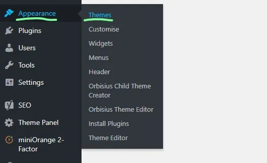 How to install a WordPress theme - using the WordPress theme search - 1 - MintSwift