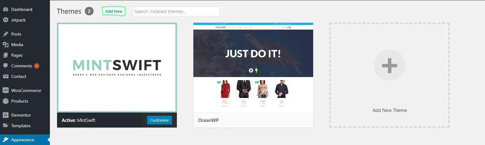 How to install a WordPress theme - using the WordPress theme search - 2 - MintSwift