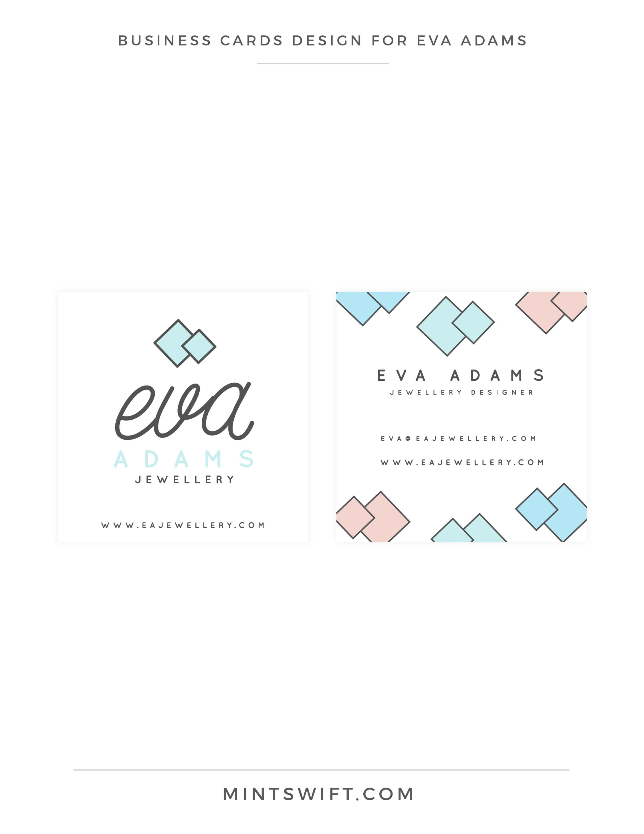 Eva Adams - Business cards design - MintSwift