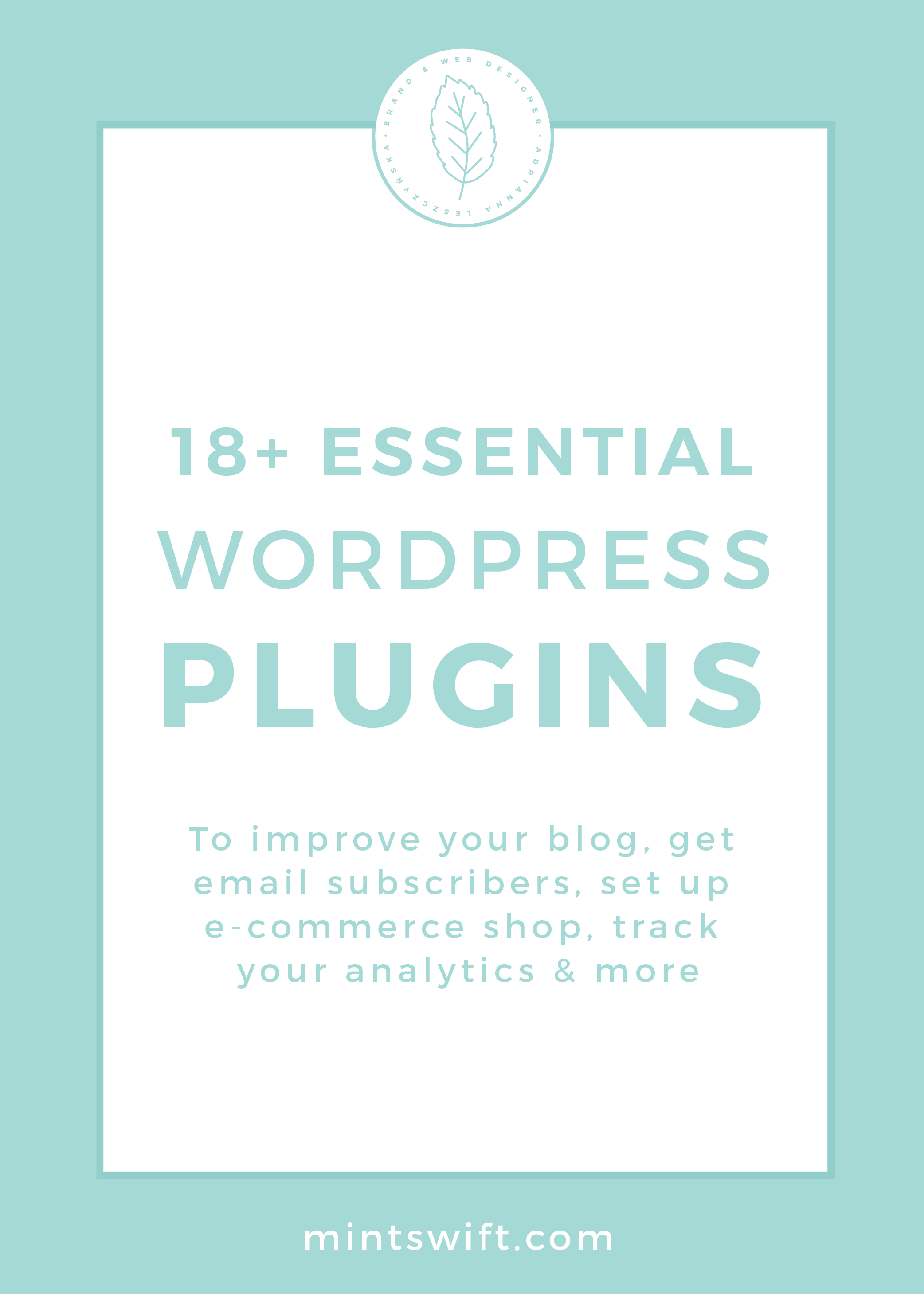 18+ Essential WordPress Plugins. To Improve Your Blog, Get Email Subscribers, Set Up E-Commerce Shop, Track Your Analytics & More by MintSwift