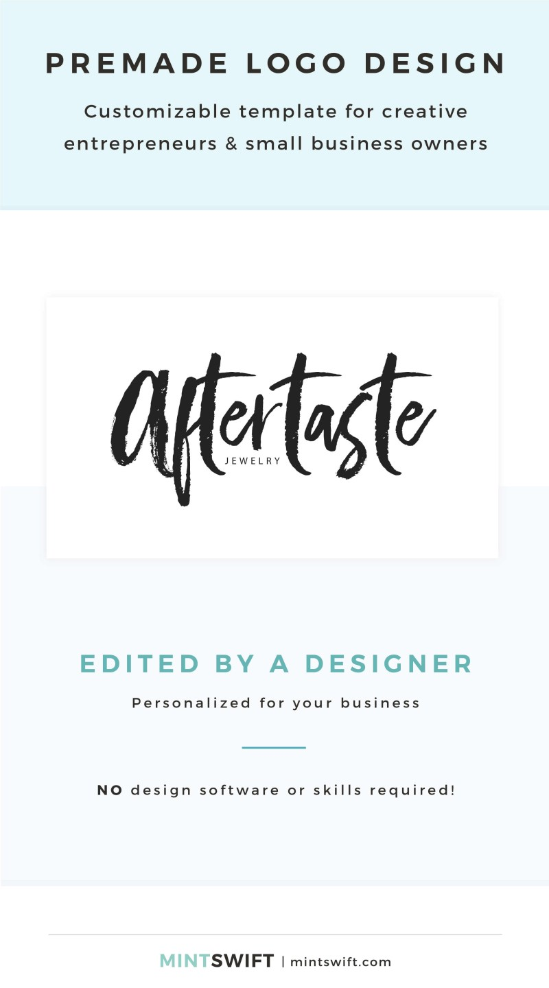 Aftertaste Premade Logo - Customizable template for creative entrepreneurs & small business owners – MintSwift Shop