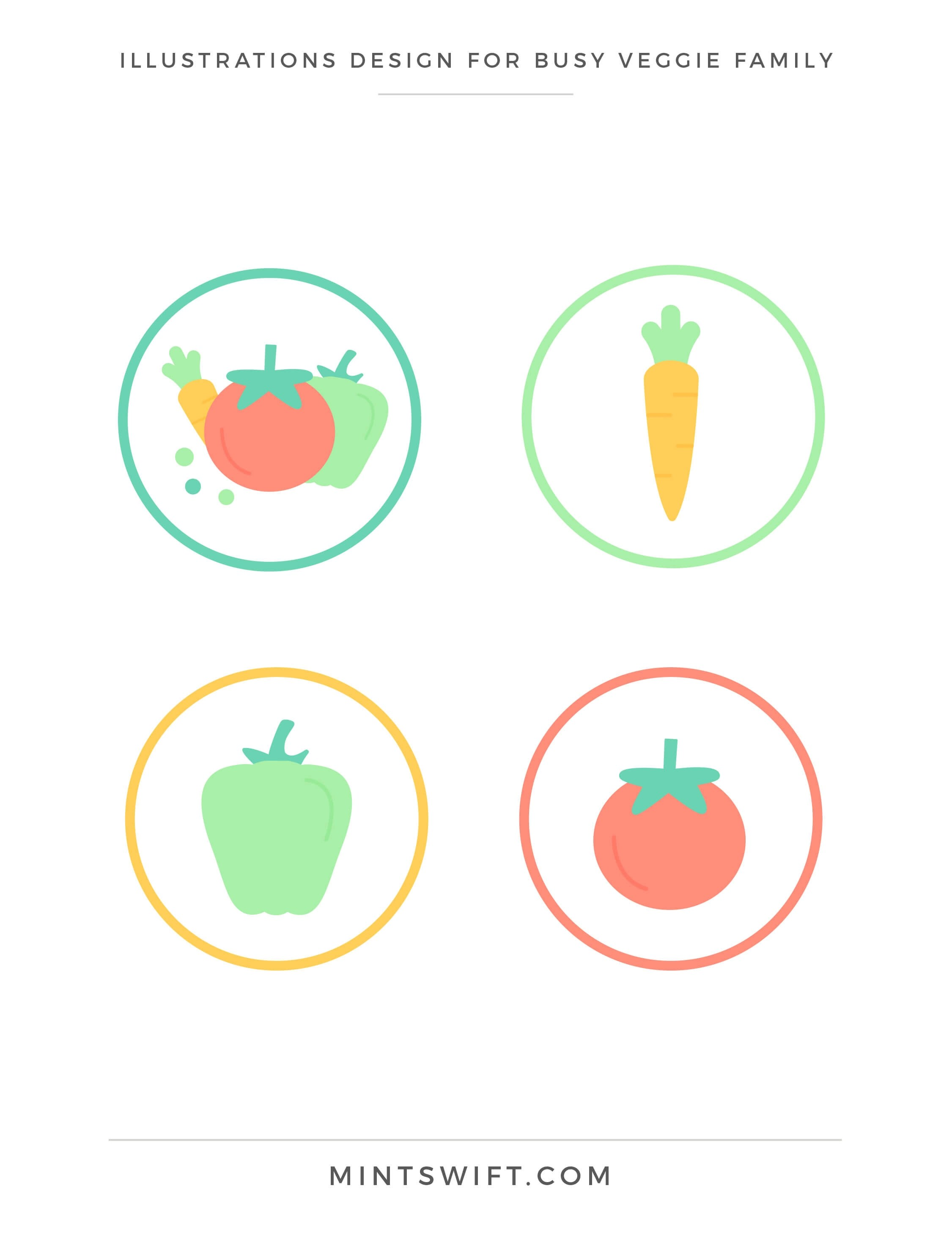 Busy Veggie Family - Illustrations Design - Brand & Website Design Package - MintSwift