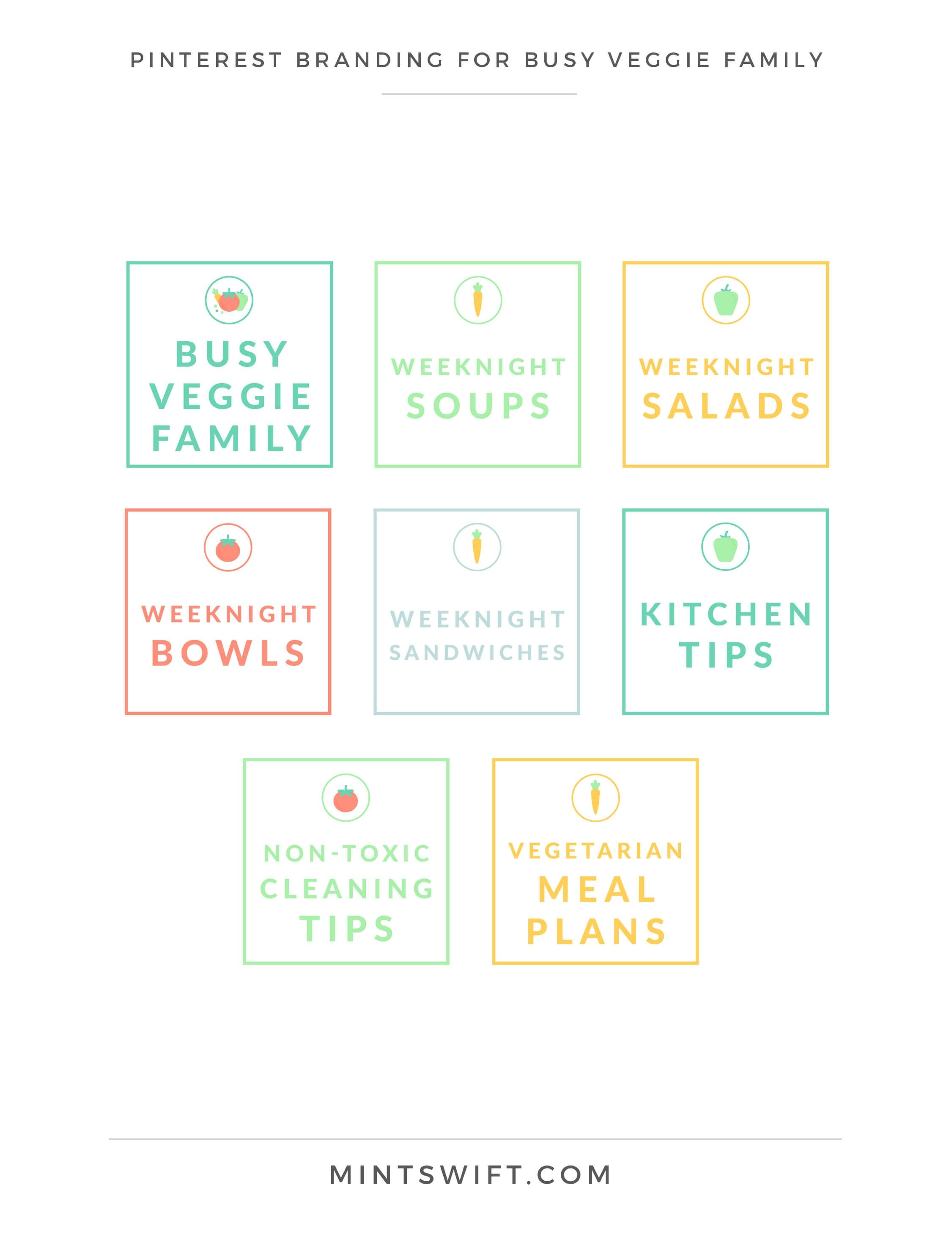 Busy Veggie Family - Pinterest Branding - Brand & Website Design Package - MintSwift