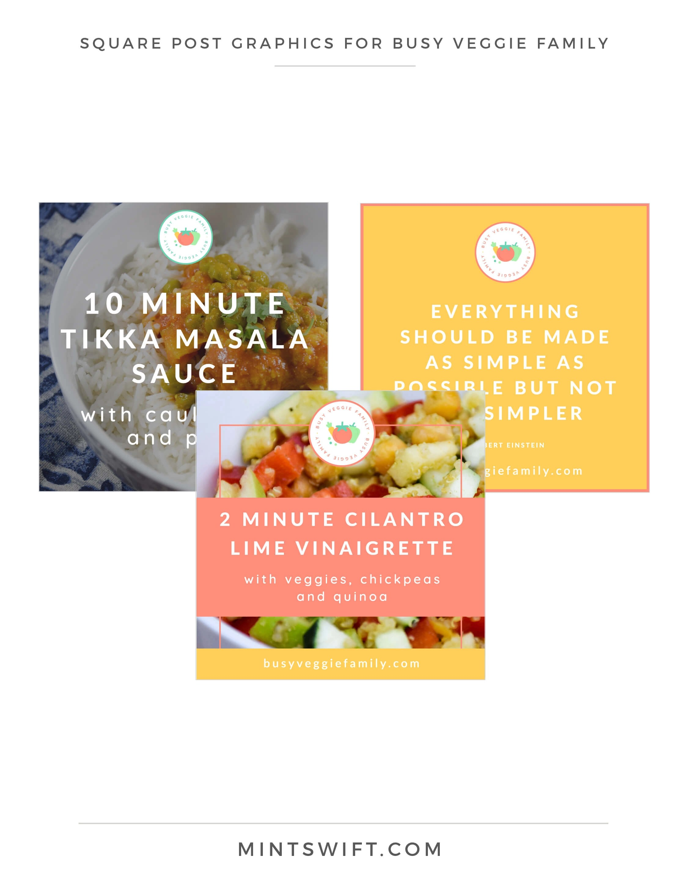 Busy Veggie Family - Square Post Graphics - Brand & Website Design Package - MintSwift