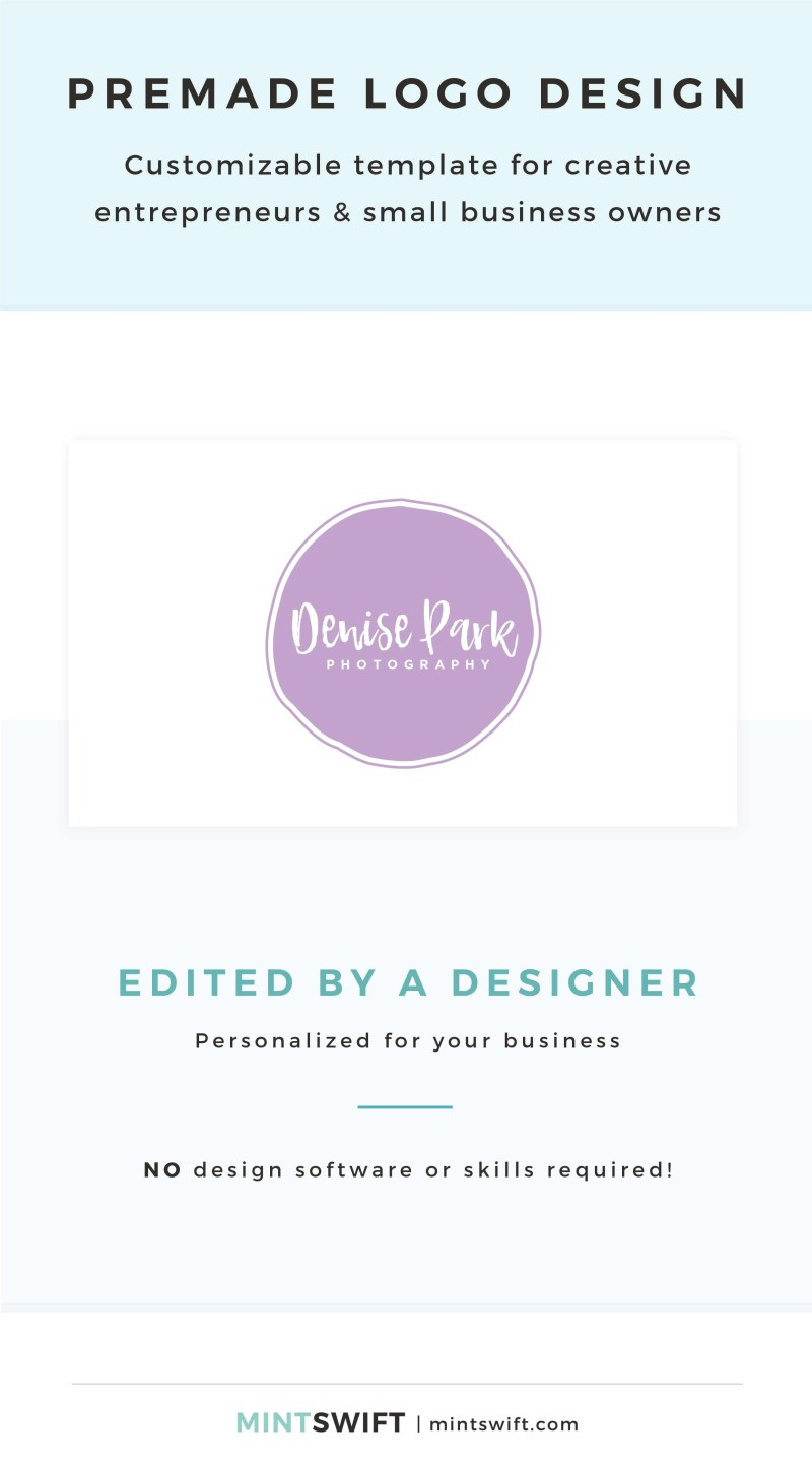 Denise Park Premade Logo - Customizable template for creative entrepreneurs & small business owners – MintSwift Shop
