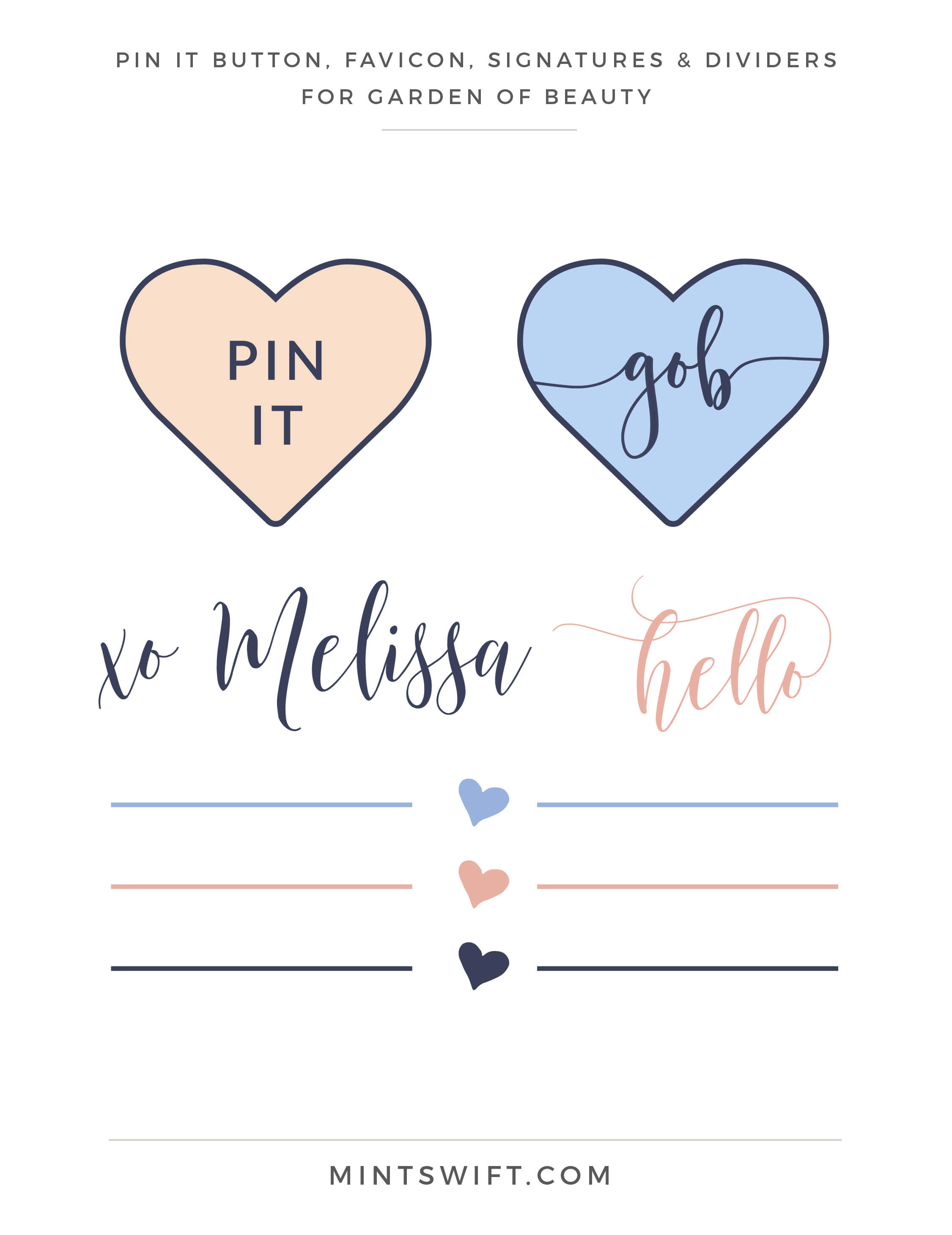 Garden of Beauty - Pin It Button, Favicon, Signatures & Dividers - Brand Design Package - MintSwift