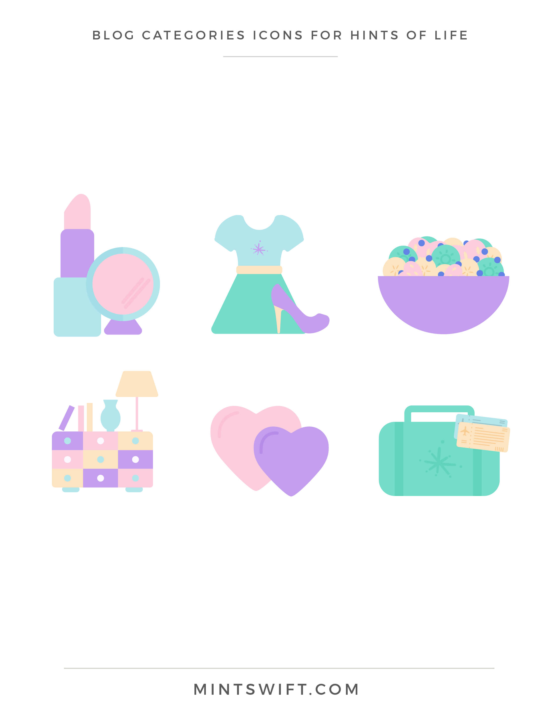Hints of Life - Blog Categories Icons - Brand Design Package - MintSwift