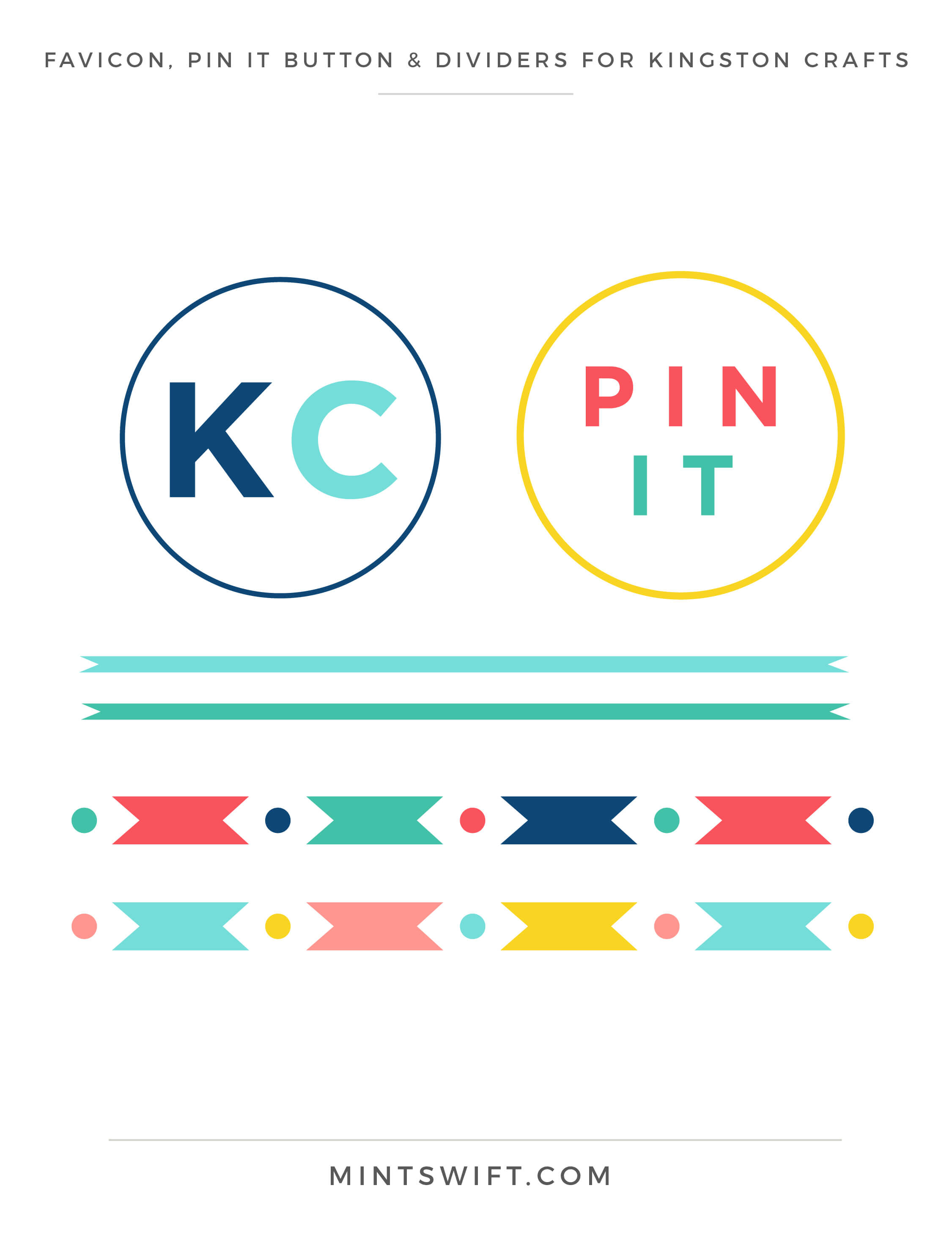 Kingston Crafts - Favicon, Pin it button & Dividers - Brand Design Package - MintSwift