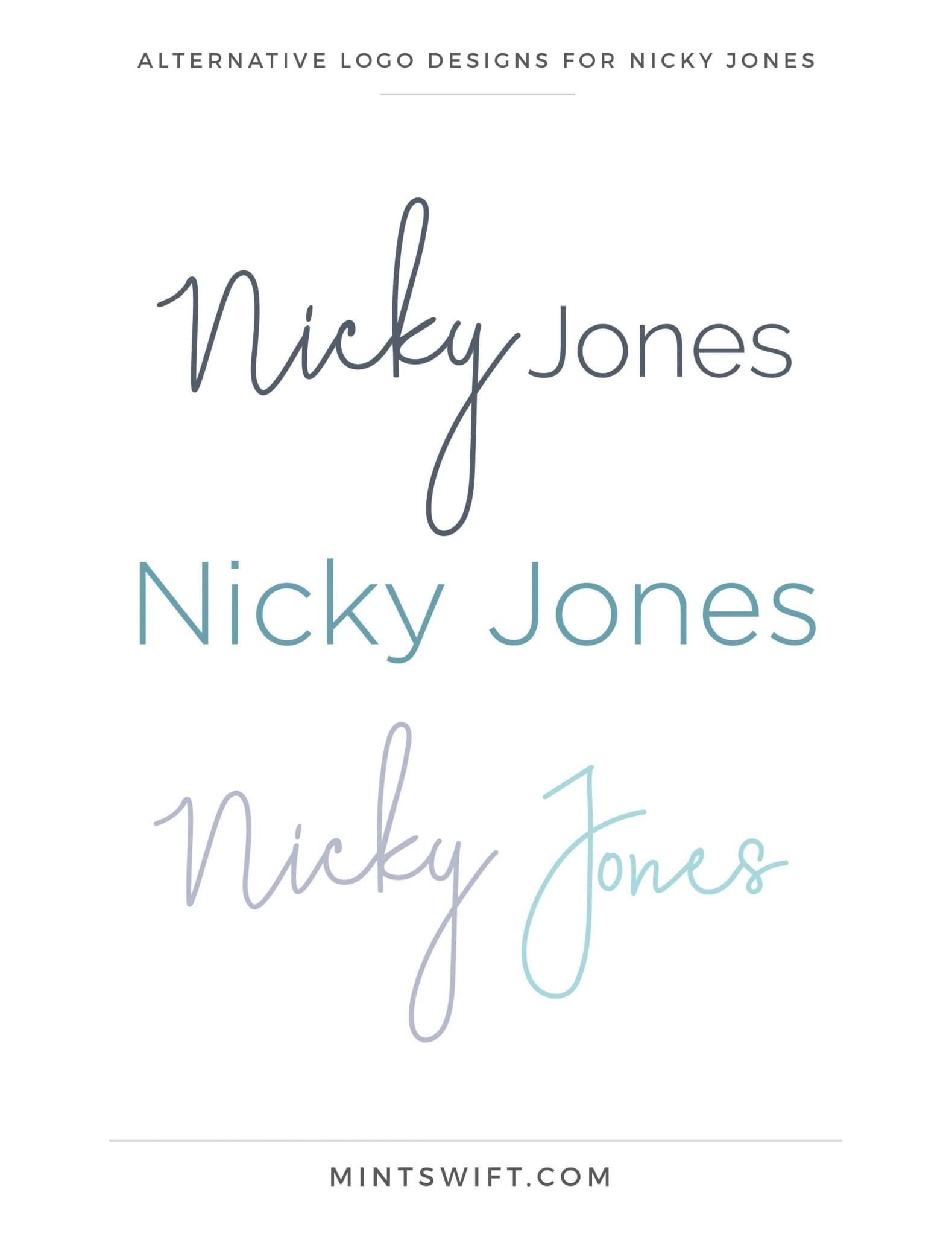 Nicky Jones - Alternative Logo Designs - Brand Design Package - MintSwift