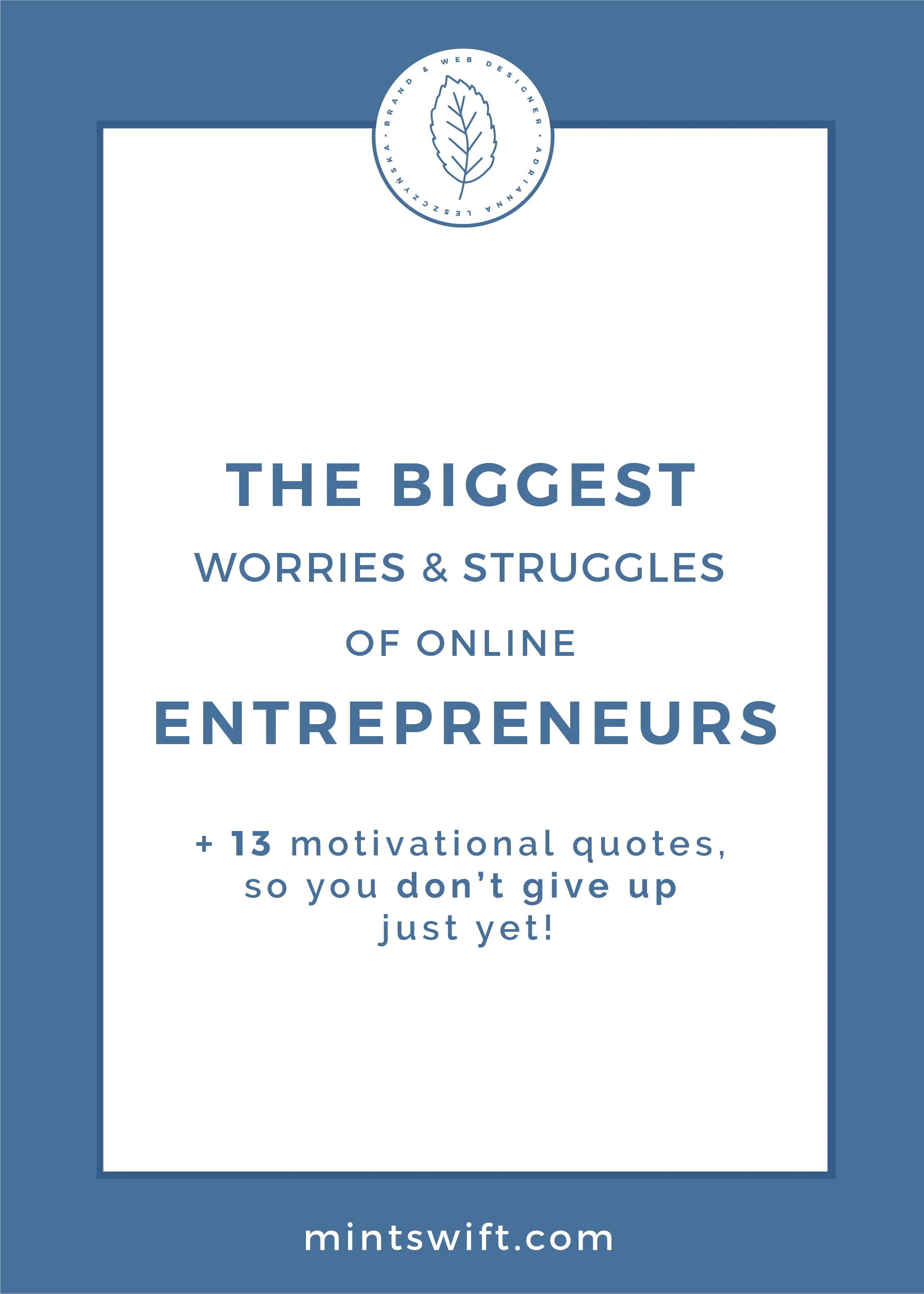 The Biggest Worries and Struggles of Online Entrepreneurs & 13+ Motivational Quotes, So You Don't Give Up Just Yet! by MintSwift