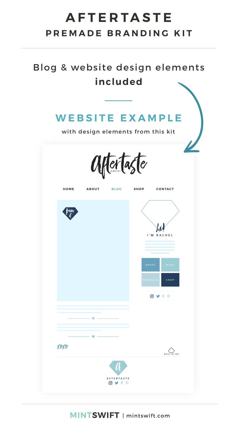Aftertaste Premade Branding Kit - Blog & Website design elements included - MintSwift Shop