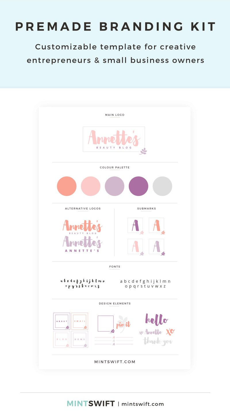 Annette's Premade Branding Kit – Customizable template for creative entrepreneurs & small business owners – MintSwift Shop