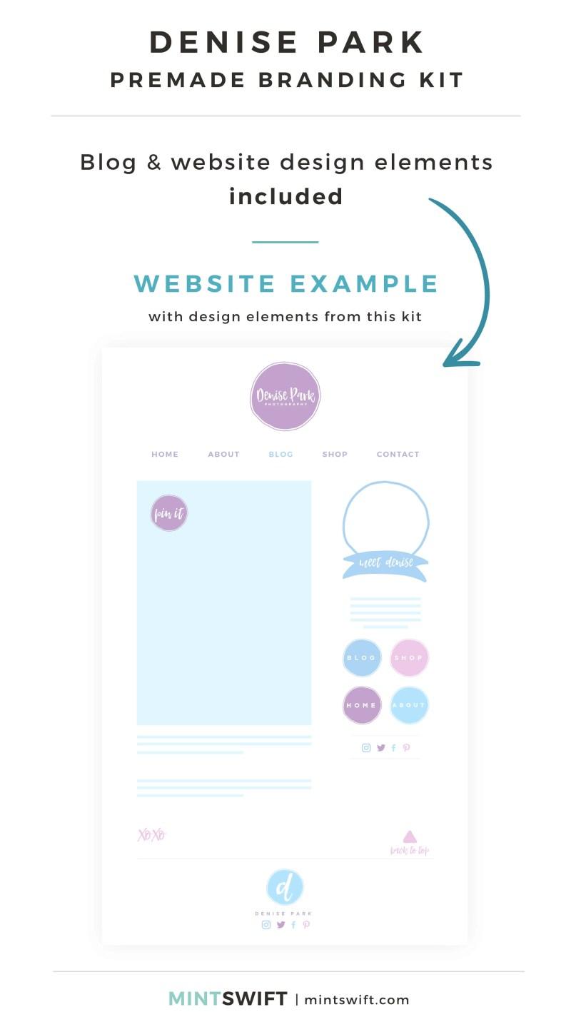 Denise Park Premade Branding Kit - Blog & Website design elements included - MintSwift Shop