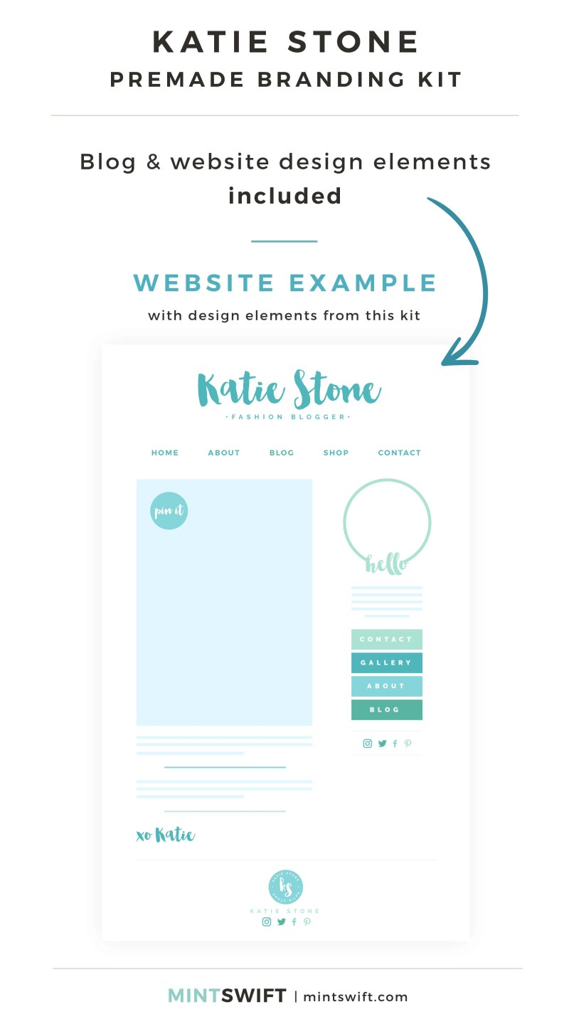 Katie Stone Premade Branding Kit - Blog & Website design elements included - MintSwift Shop