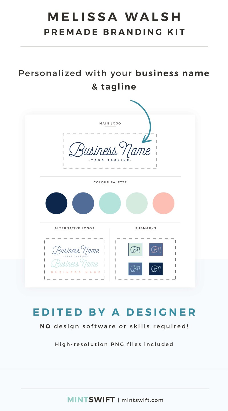 Melissa Walsh Premade Branding Kit - Personalized with your business name & tagline – MintSwift Shop