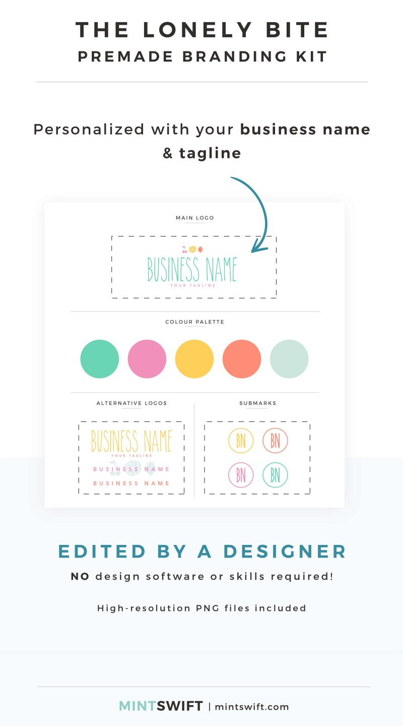 The Lonely Bite Premade Branding Kit - Personalized with your business name & tagline – MintSwift Shop