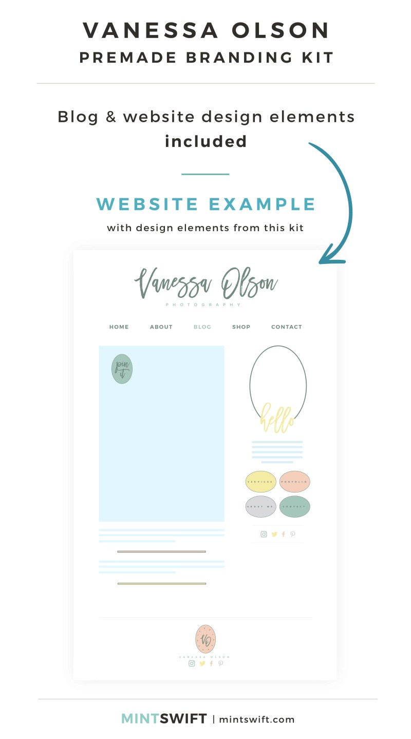 Vanessa Olson Premade Branding Kit - Blog & Website design elements included - MintSwift Shop