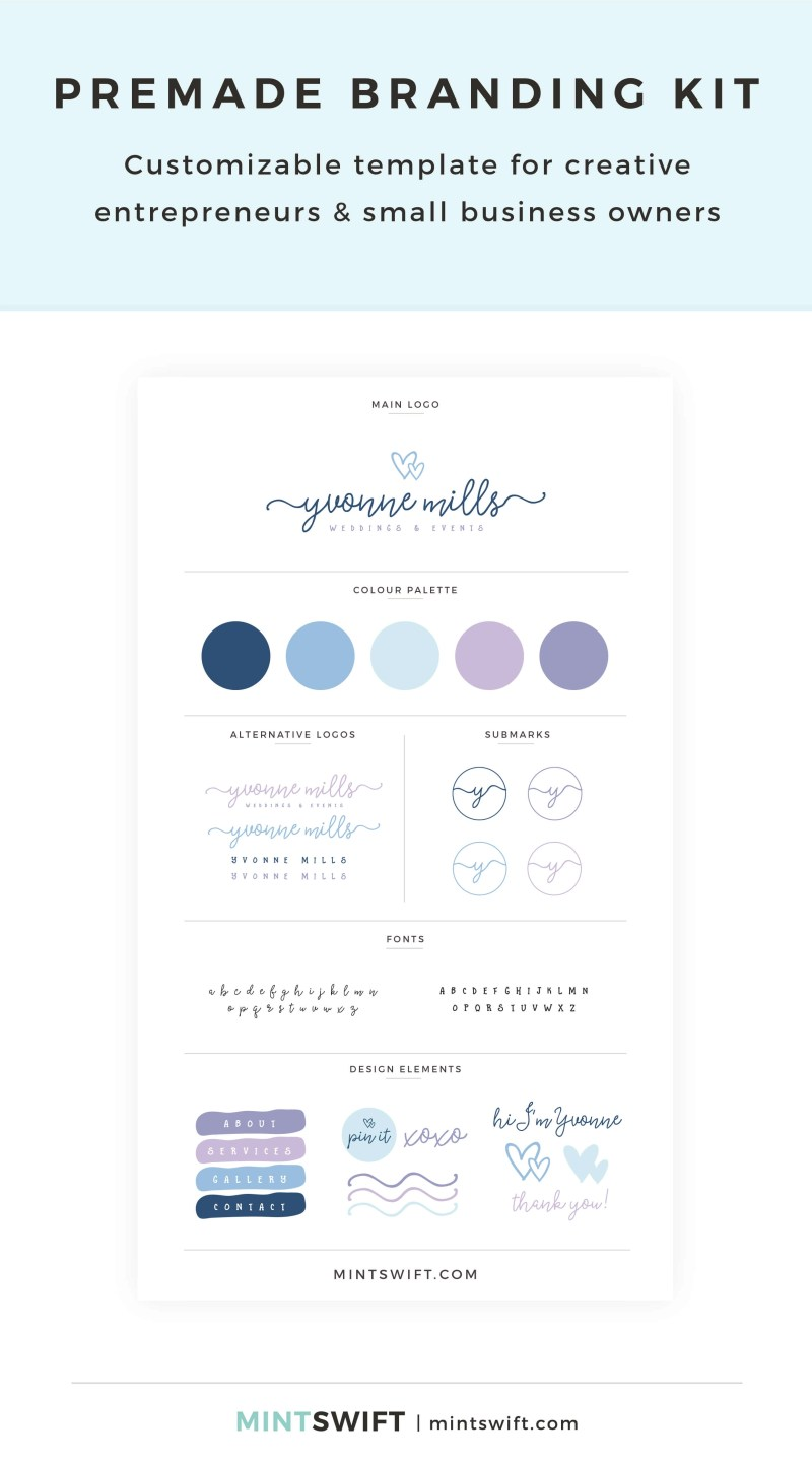 Yvonne Mills Premade Branding Kit – Customizable template for creative entrepreneurs & small business owners – MintSwift Shop