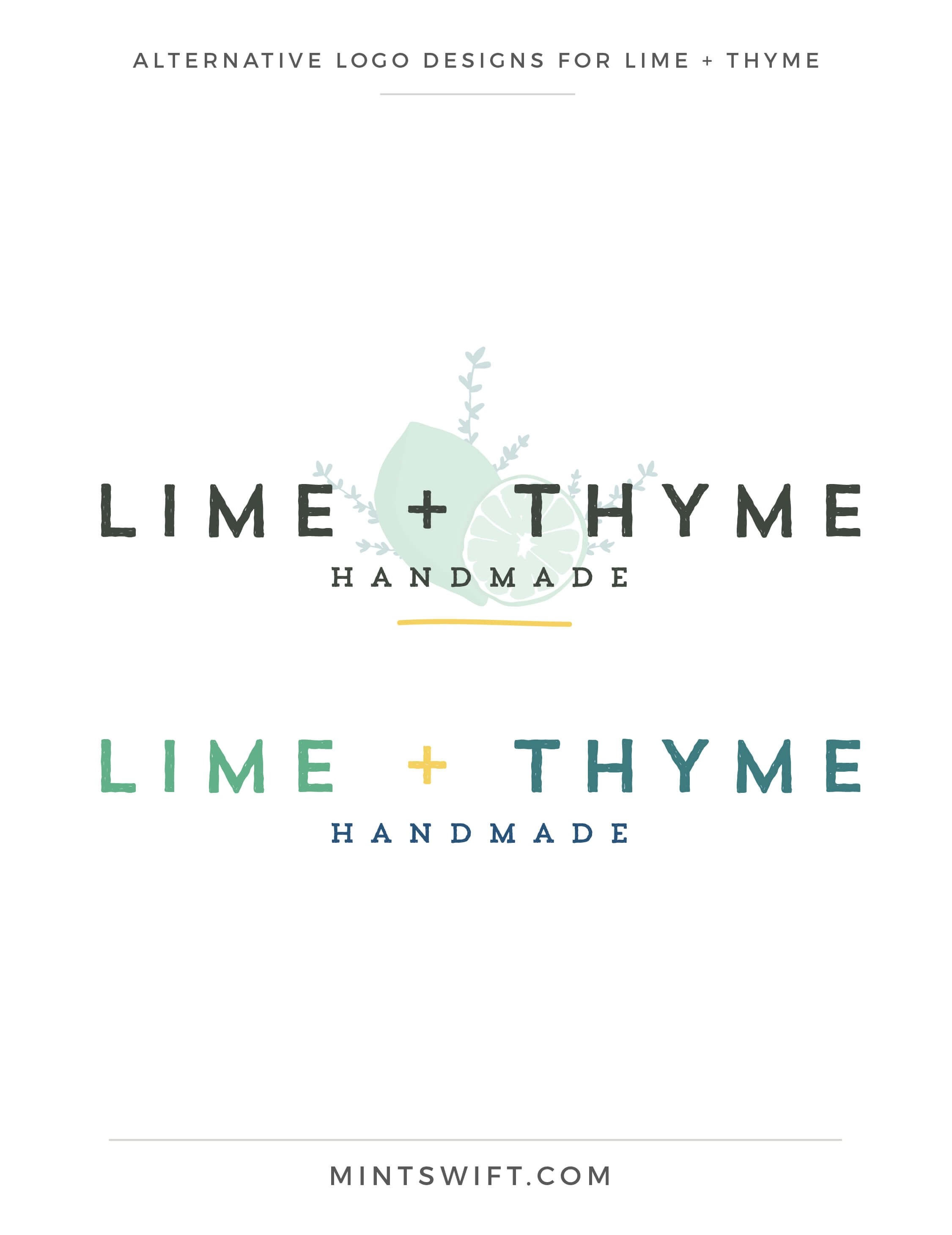 Lime + Thyme - Alternative Logo Designs - Brand & Website Design - MintSwift