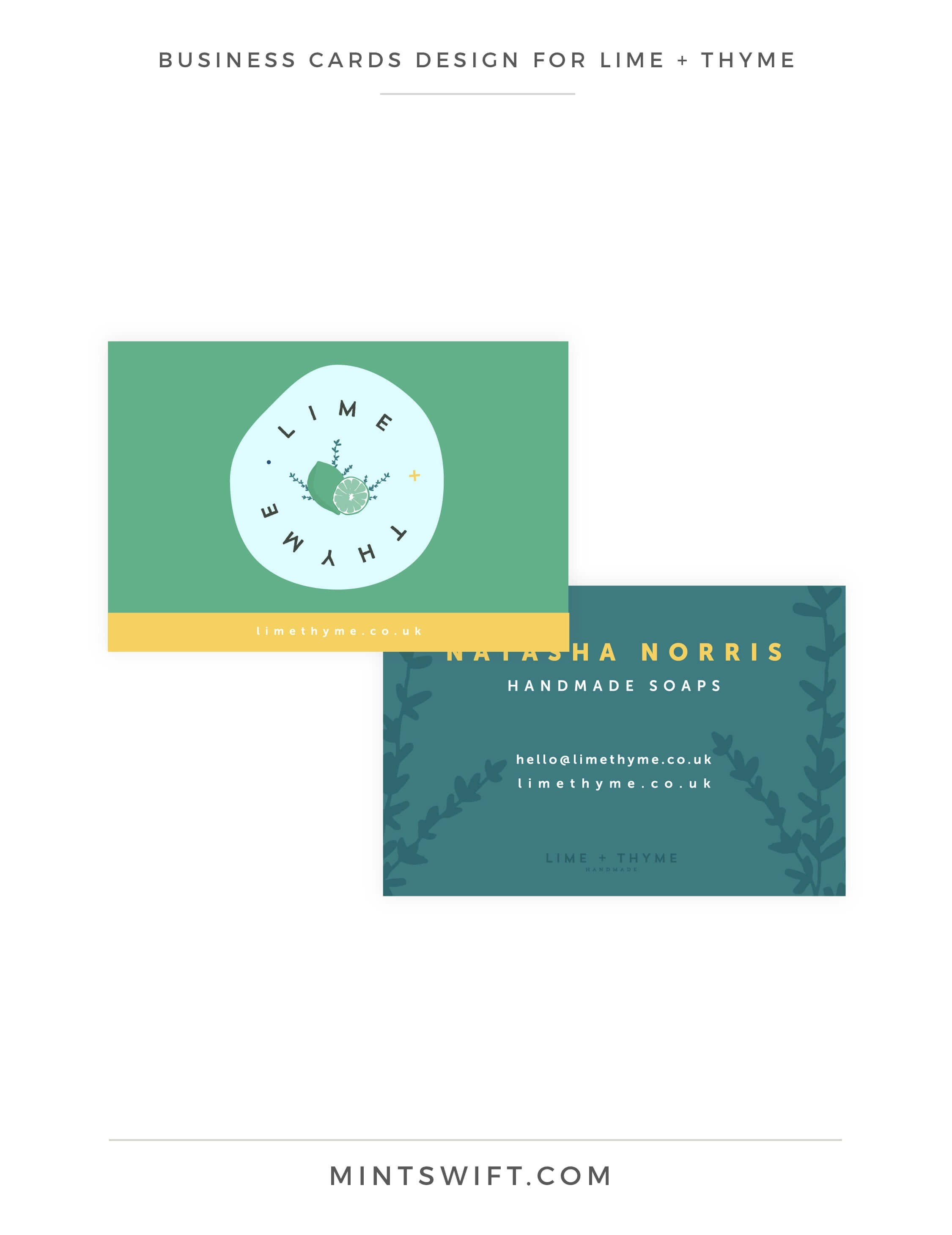 Lime + Thyme - Business Cards Design - Brand & Website Design - MintSwift