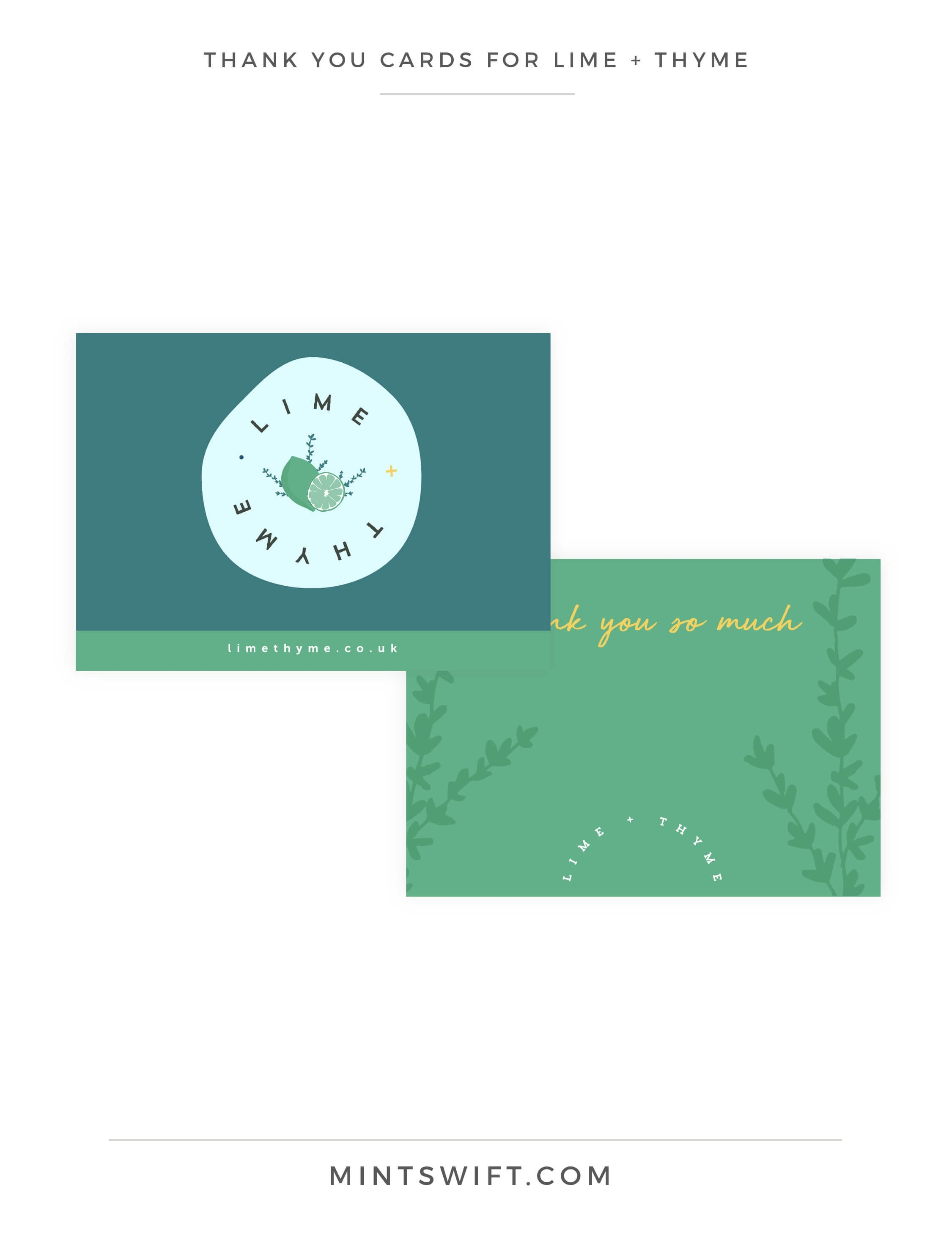 Lime + Thyme - Thank You Cards - Brand & Website Design - MintSwift
