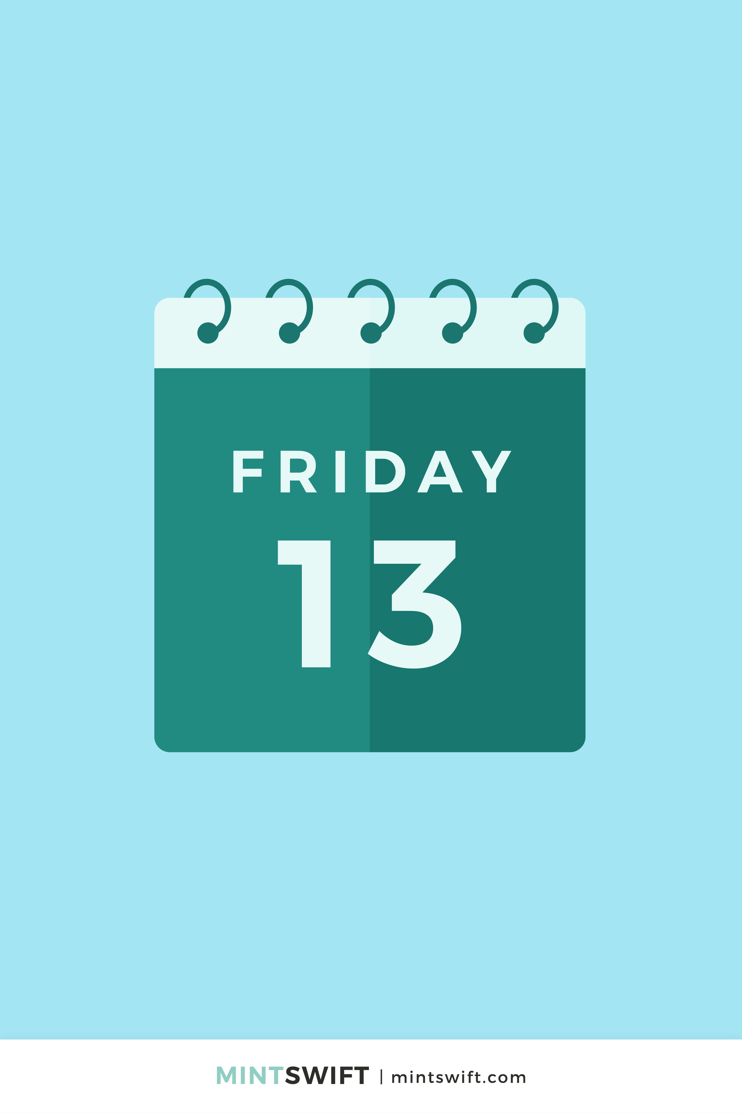 Dark green vector illustration of a calendar showing the day 13th Friday in flat design style on a sky blue background