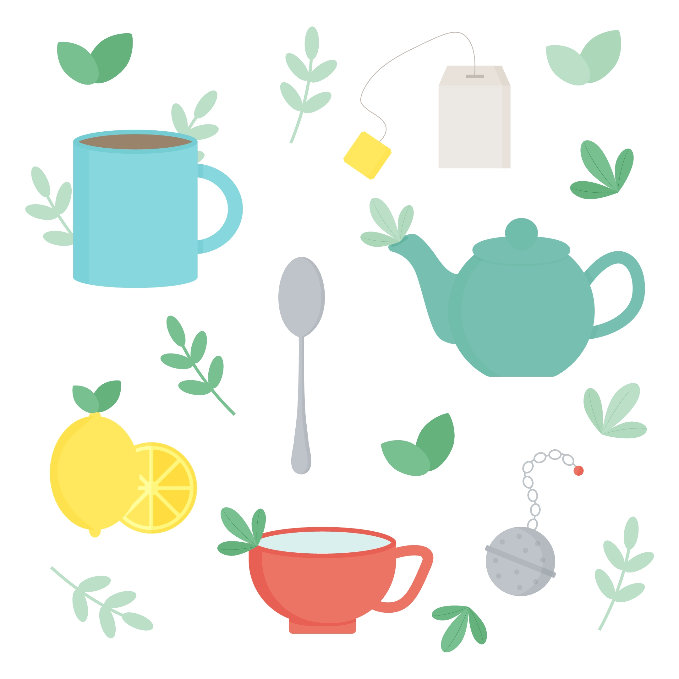 Vector illustration of a tea making set, including supplies: mug, lemons, spoon, teacup, teabag, teapot, tea ball with loose tea leaves in flat design style