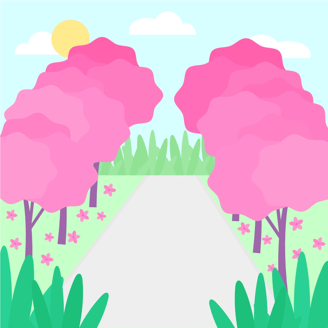 Vector illustration of a Cherry Blossom (Sakura) in Greenwich Park, London in flat design style