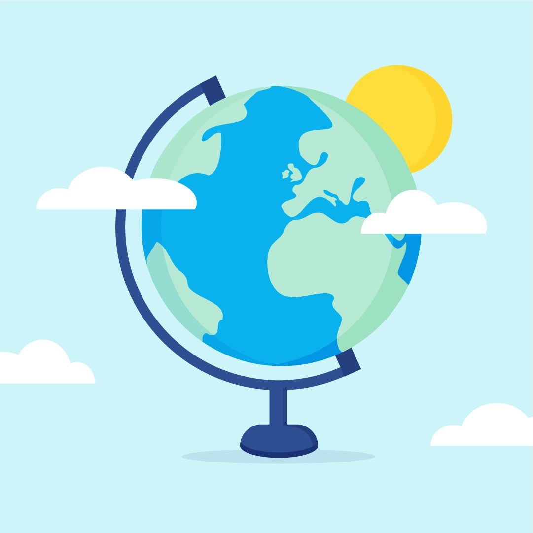Vector illustration of a Globe scene with clouds & sun in flat design style