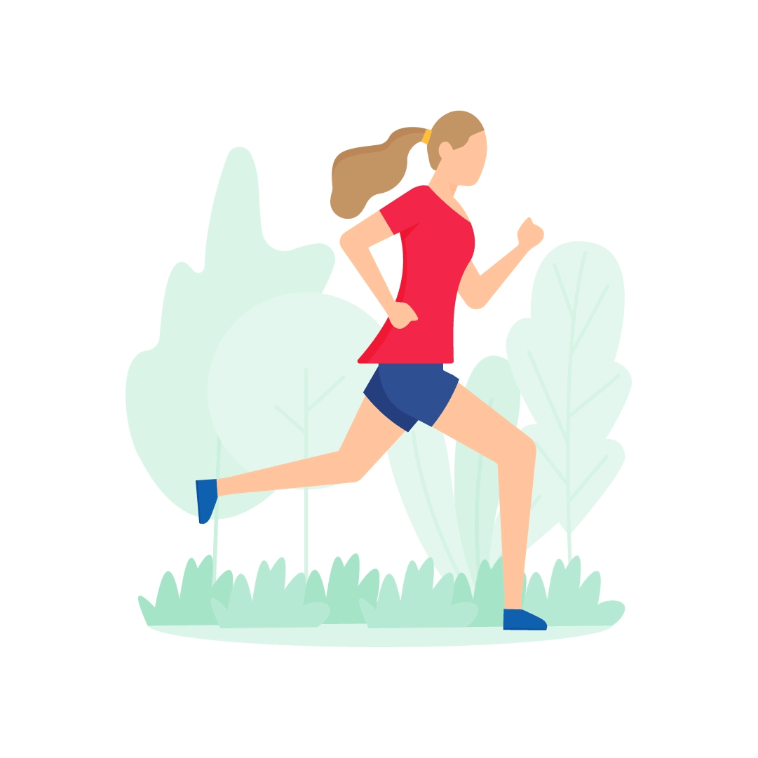 Vector illustration of a woman jogging in the park in flat design style