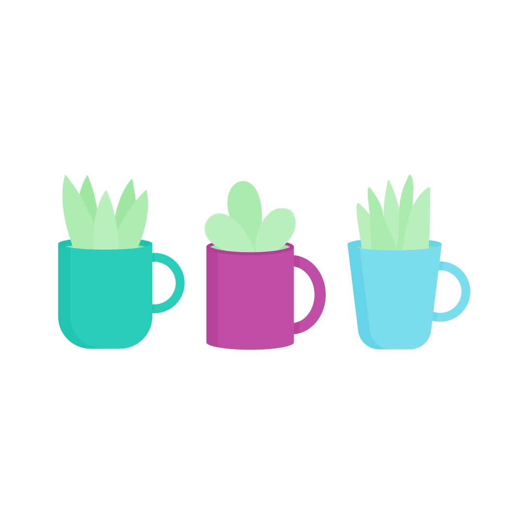 Vector illustration of a Set of three different plants in tea mugs in flat design style