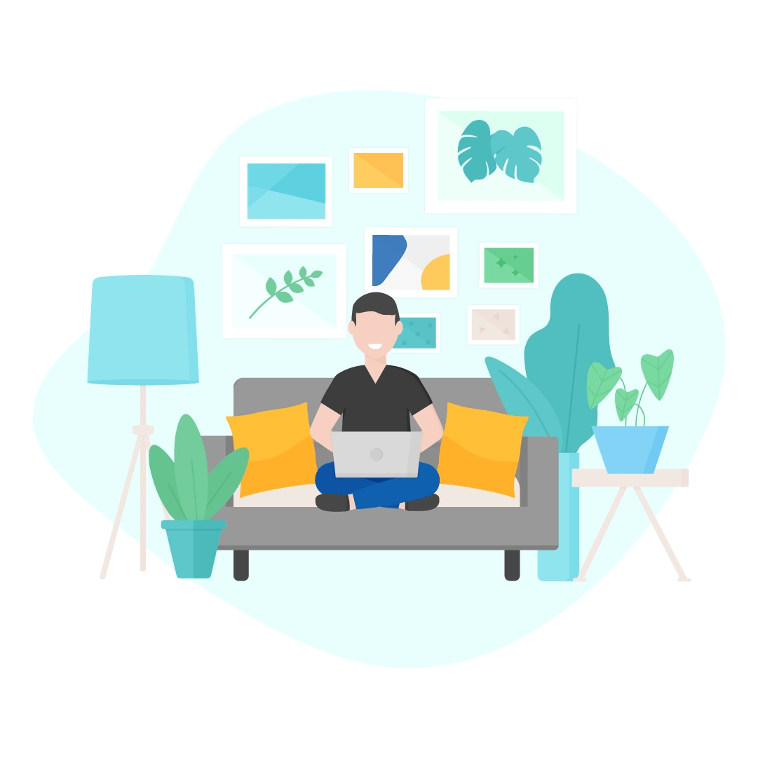 Vector illustration of a man sitting on a sofa in a living room with a laptop - working from home in flat design style