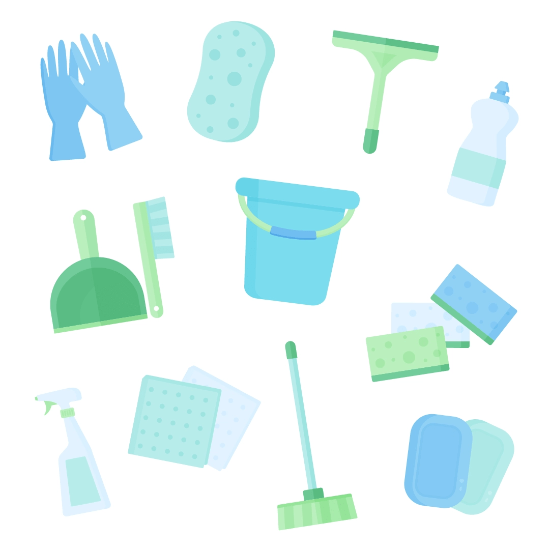 Vector illustration of spring cleaning supplies: gloves, sponges, squeegee, dishwashing liquid, dustpan and brush set, bucket, window cleaning spray, broom, soap bars in flat design style