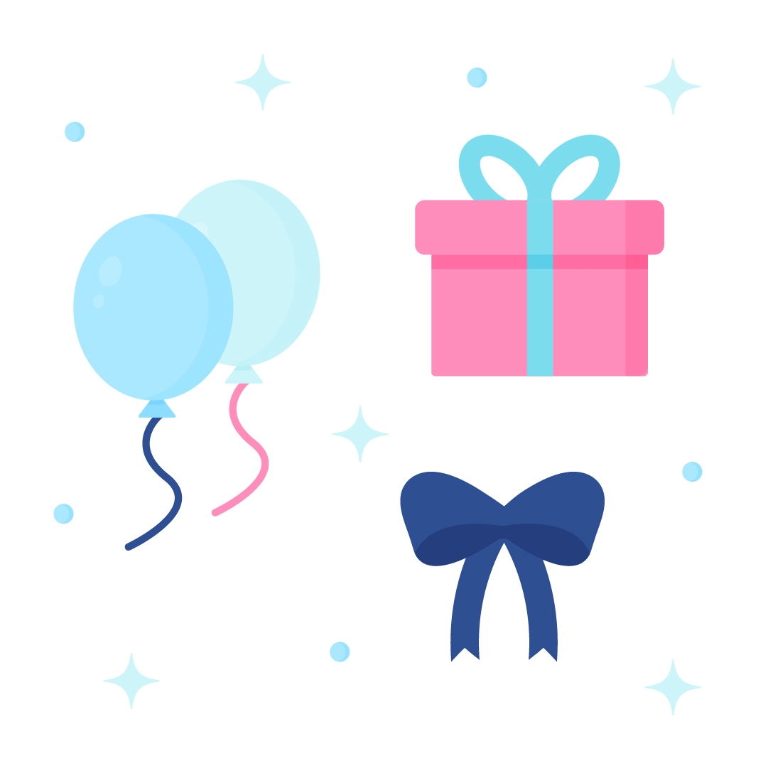 Vector illustration of a balloons, gift, & ribbon set in flat design style