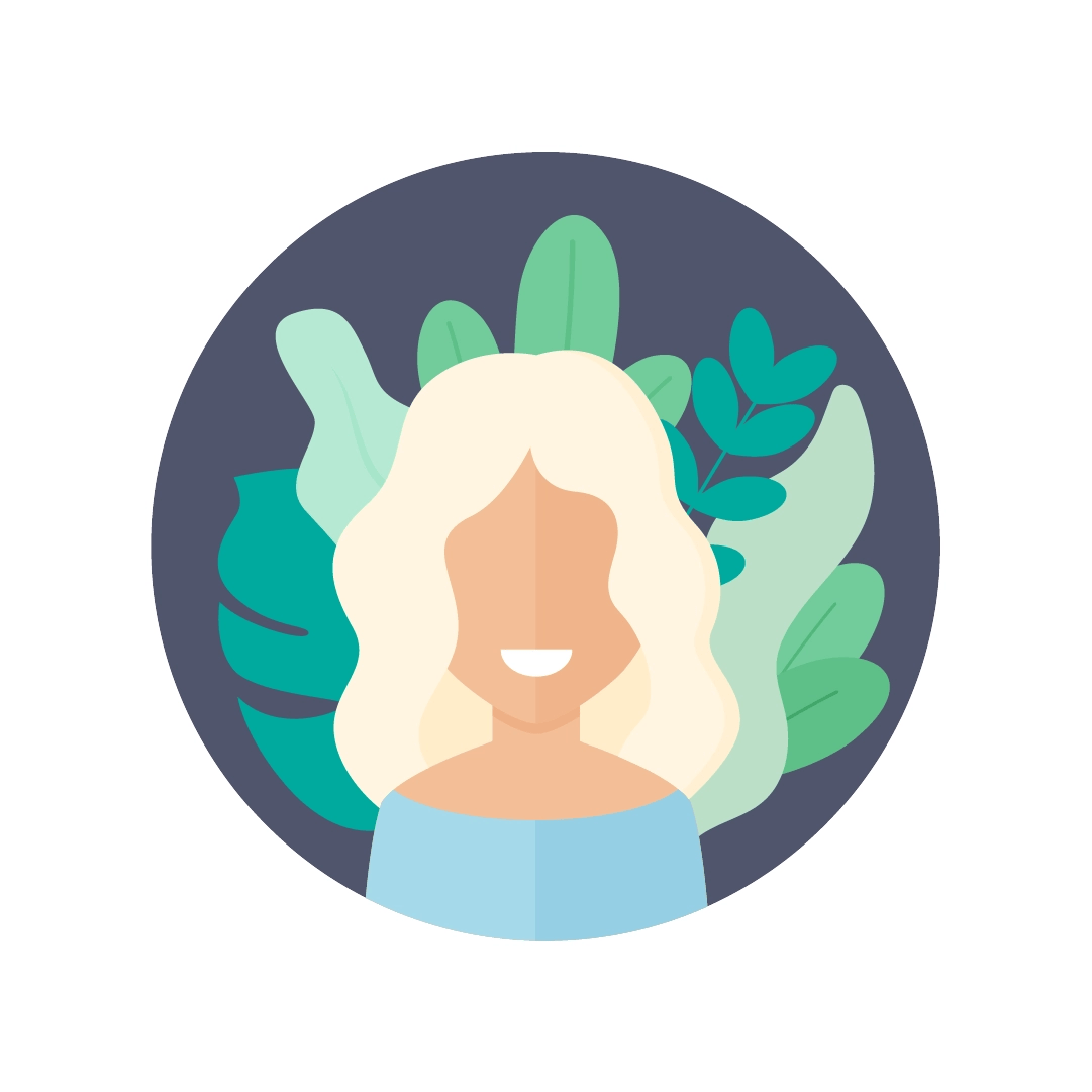 Vector illustration of an avatar of a woman with blonde hair with foliage in the background in flat design style