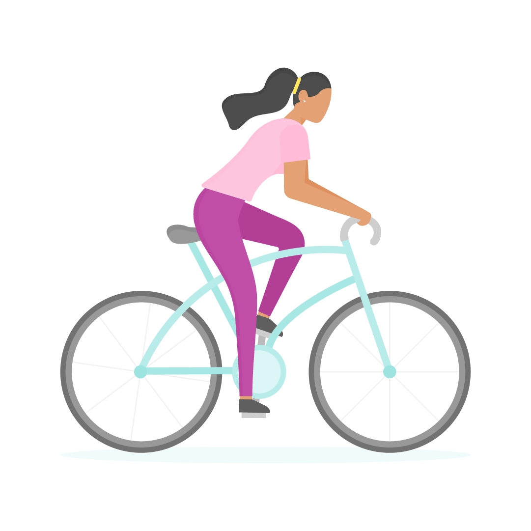 Vector illustration of a woman on a bicycle in flat design style