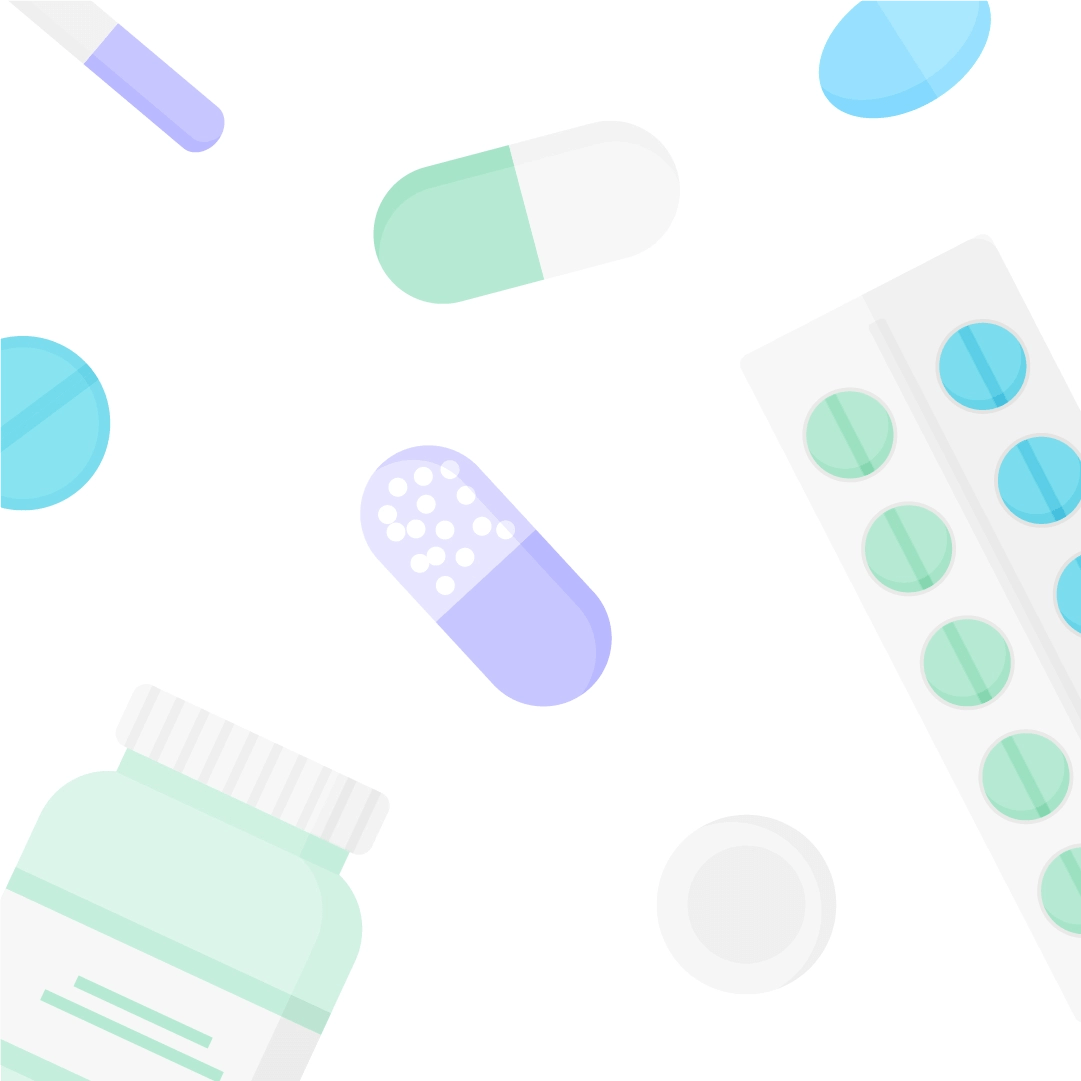 Vector illustration of a medical flat lay with distinct pills, container & pill blister in flat design style
