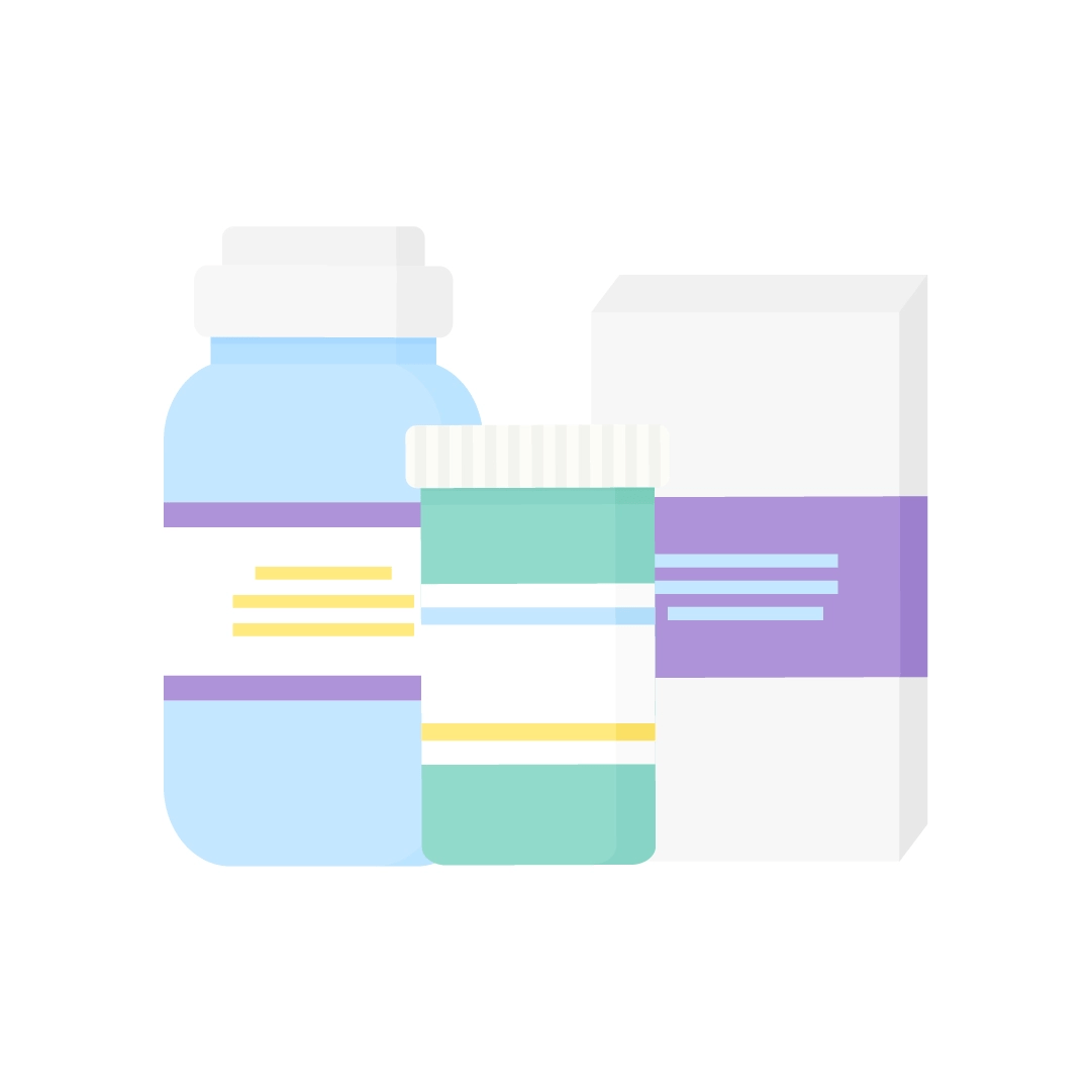 Vector illustration of various medicine containers in flat design style