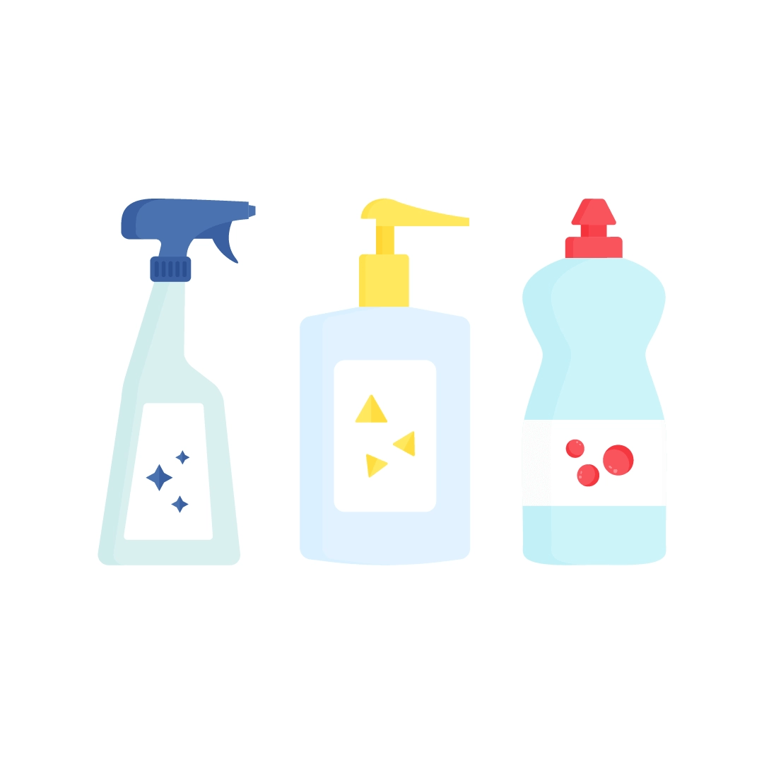 Vector illustration of a window cleaner spray, liquid soap & dishwashing liquid in flat design style
