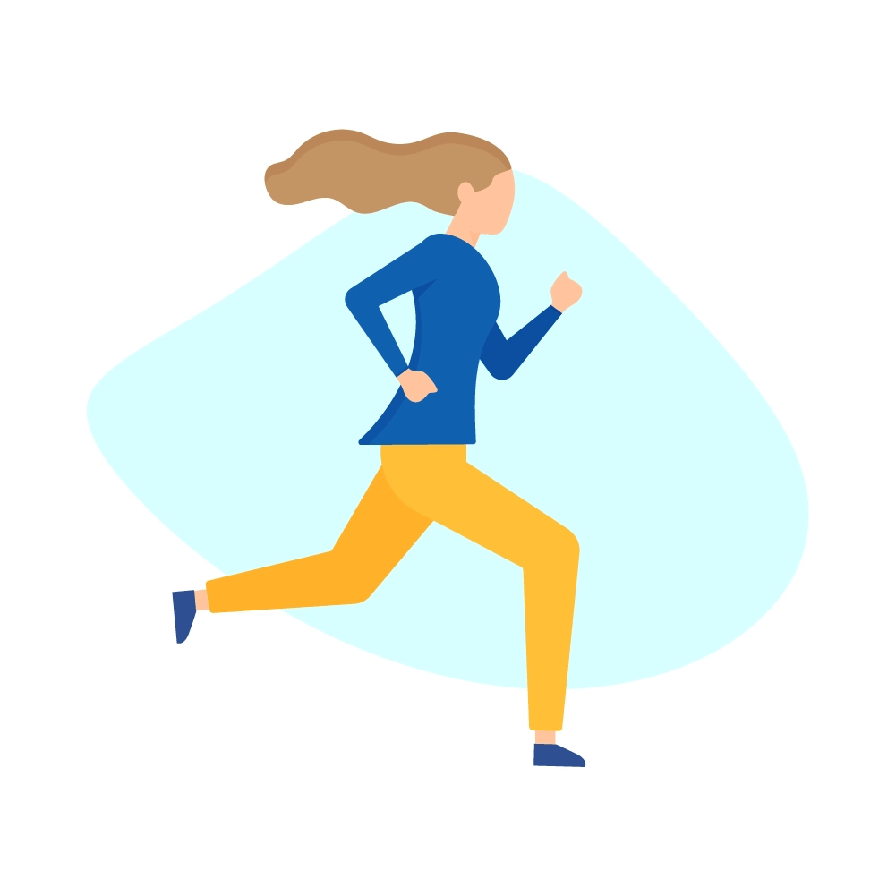 Flat illustration of a woman running to work with flying hair, yellow trousers & navy blue long sleeve blouse