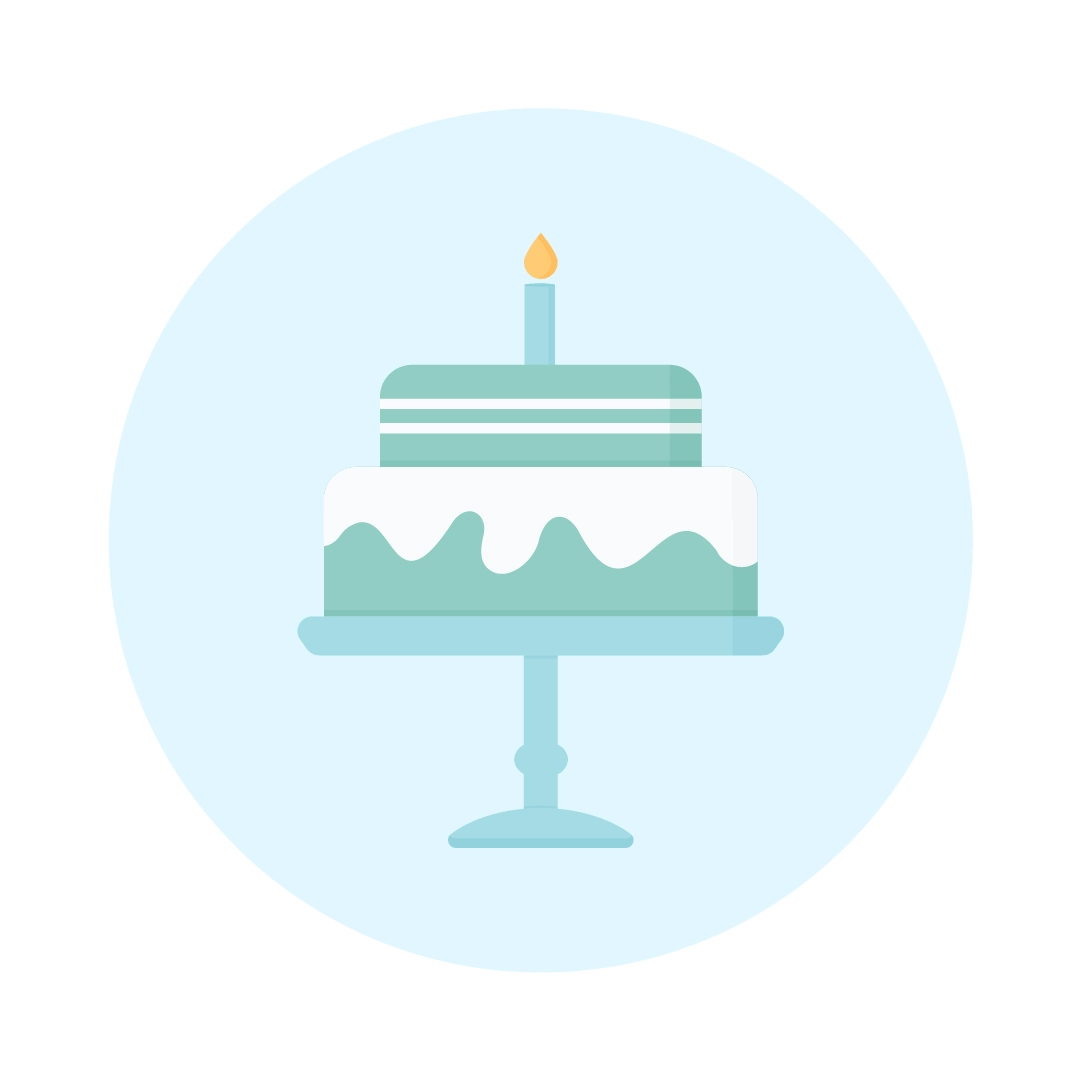 Vector illustration of a white chocolate mint birthday cake on a stand in flat design style