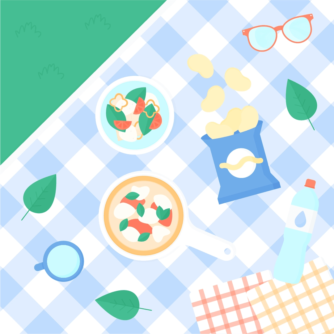 Vector illustration of a picnic on a blue plaid blanket with: a bag of crisps, salad, pizza on a round chopping board, sunglasses, bottle of water + mug, napkins & basil leaves in flat design style
