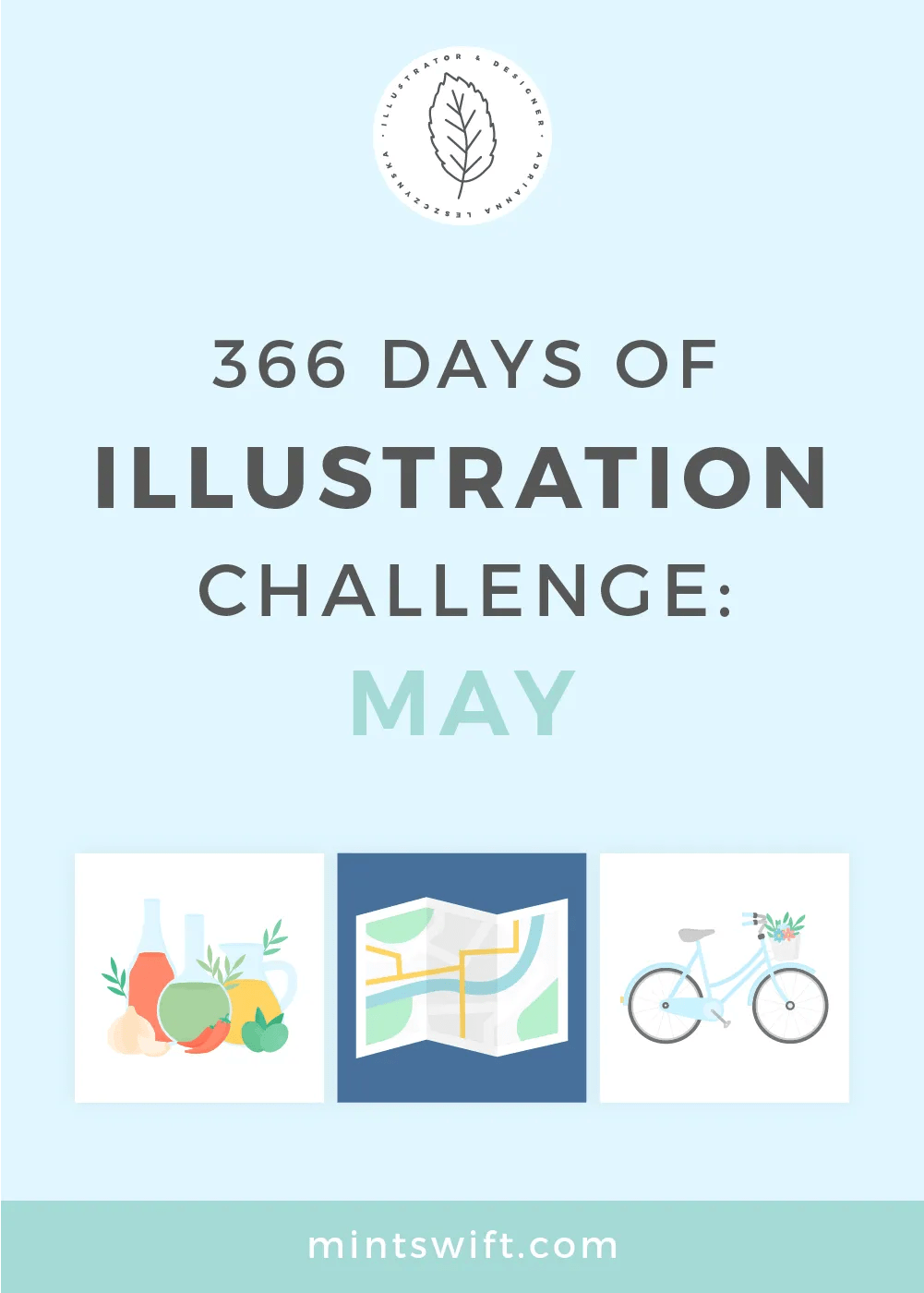 366 Days of Illustration Challenge - May by MintSwift. May - the fifth month of illustration challenge (day 122-152). Vector illustrations in flat design style about food, cosmetics, (birthday) parties and travel