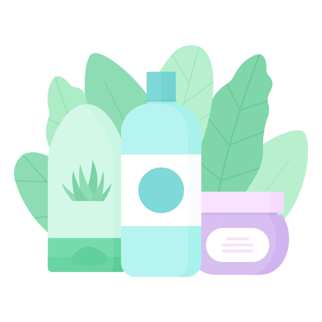 Vector illustration of a shower gel, shampoo & hair mask with leaves composition in flat design style