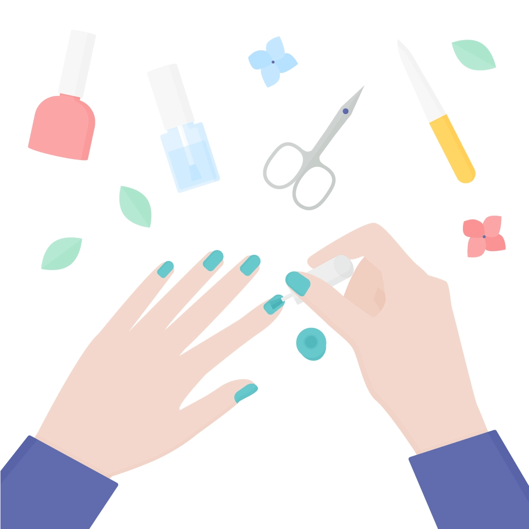 Vector illustration of a manicure (hands from the top painting nails) scene with tools: nail polish, cuticle oil, nail scissors, a nail file in flat design style