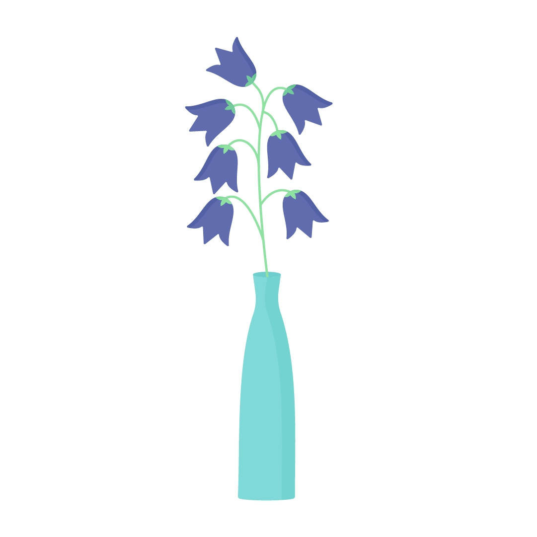 Vector illustration of bluebells in a vase in flat design style